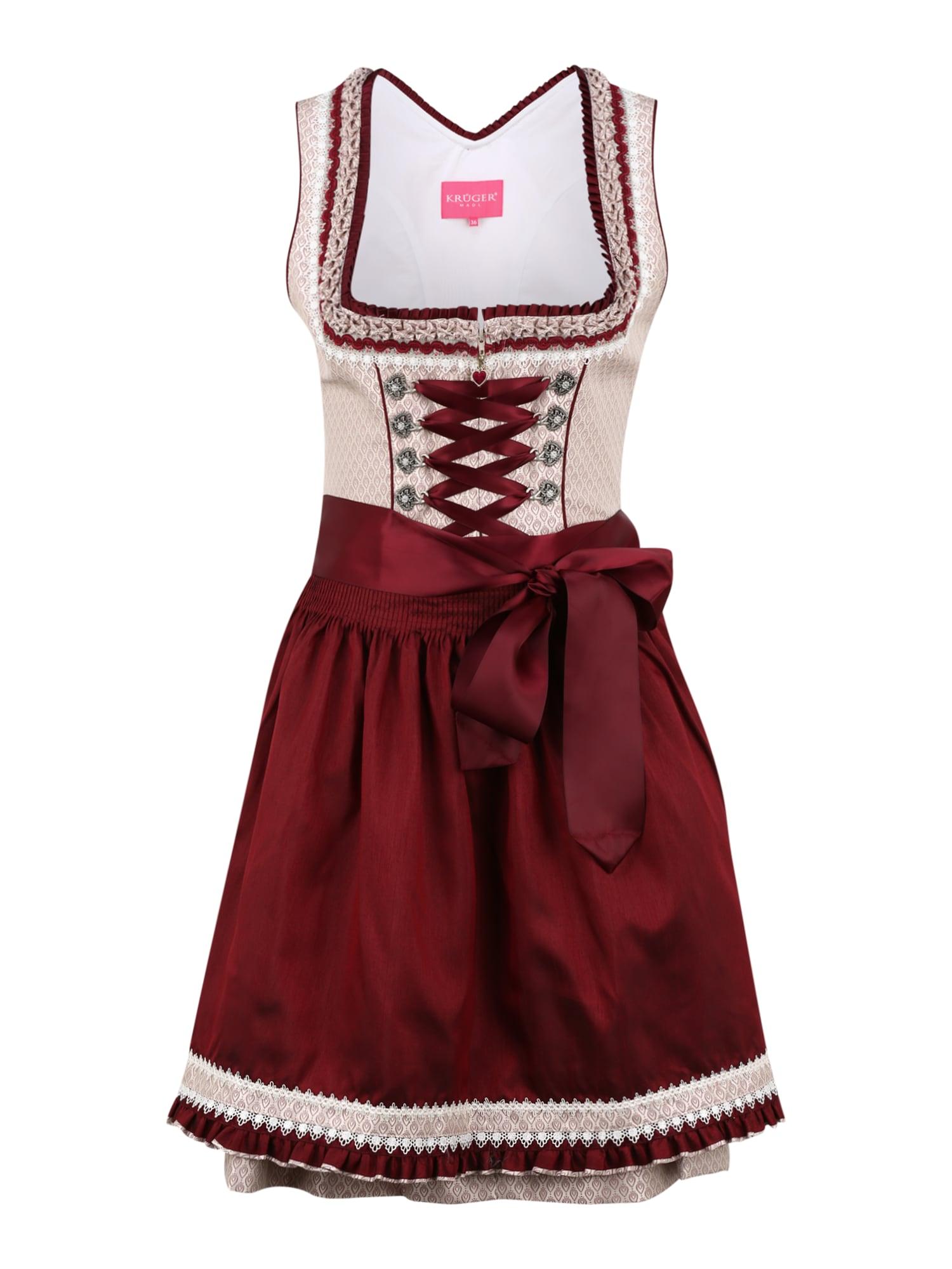 Krüger Madl Dirndlis raudona / ryškiai rožinė spalva / balta
