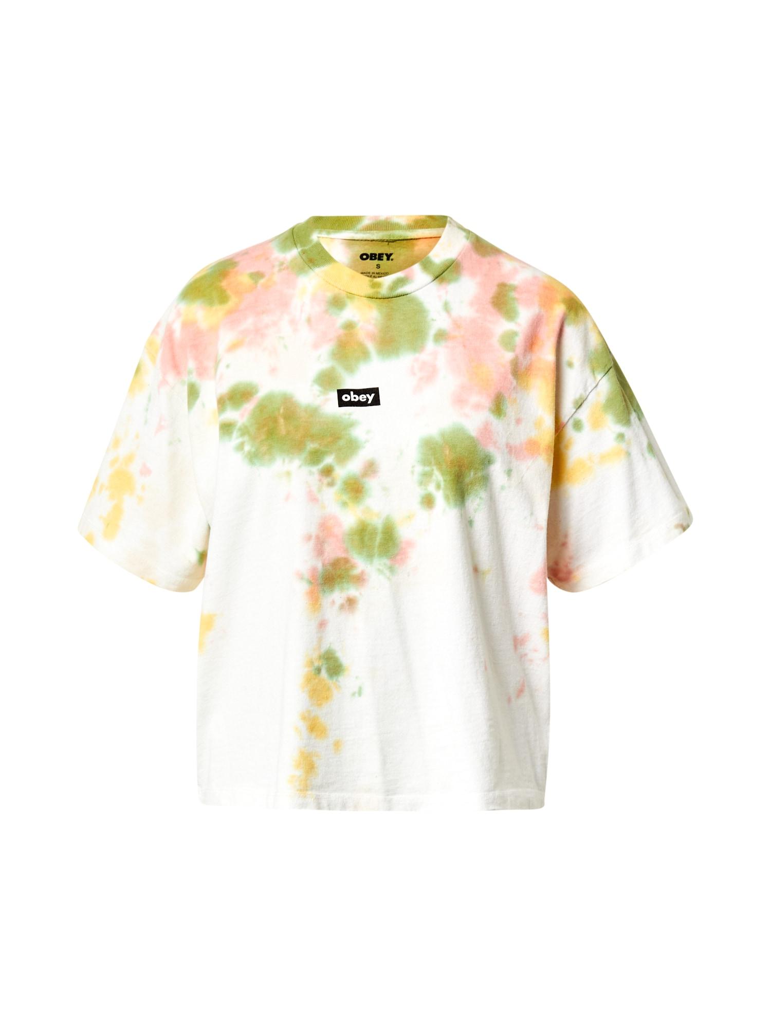 Obey Tričko  zelená / bílá / žlutá / růžová