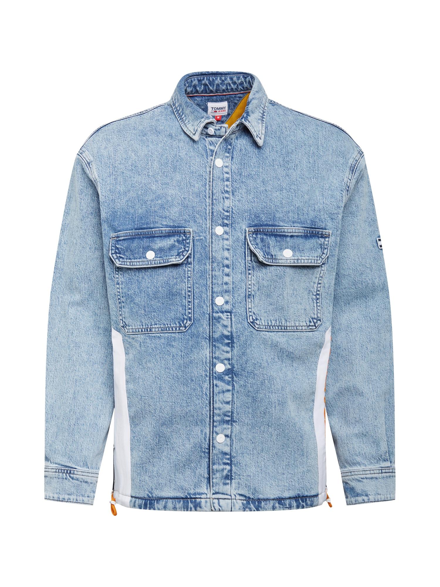 Tommy Jeans Demisezoninė striukė tamsiai (džinso) mėlyna / balta / oranžinė