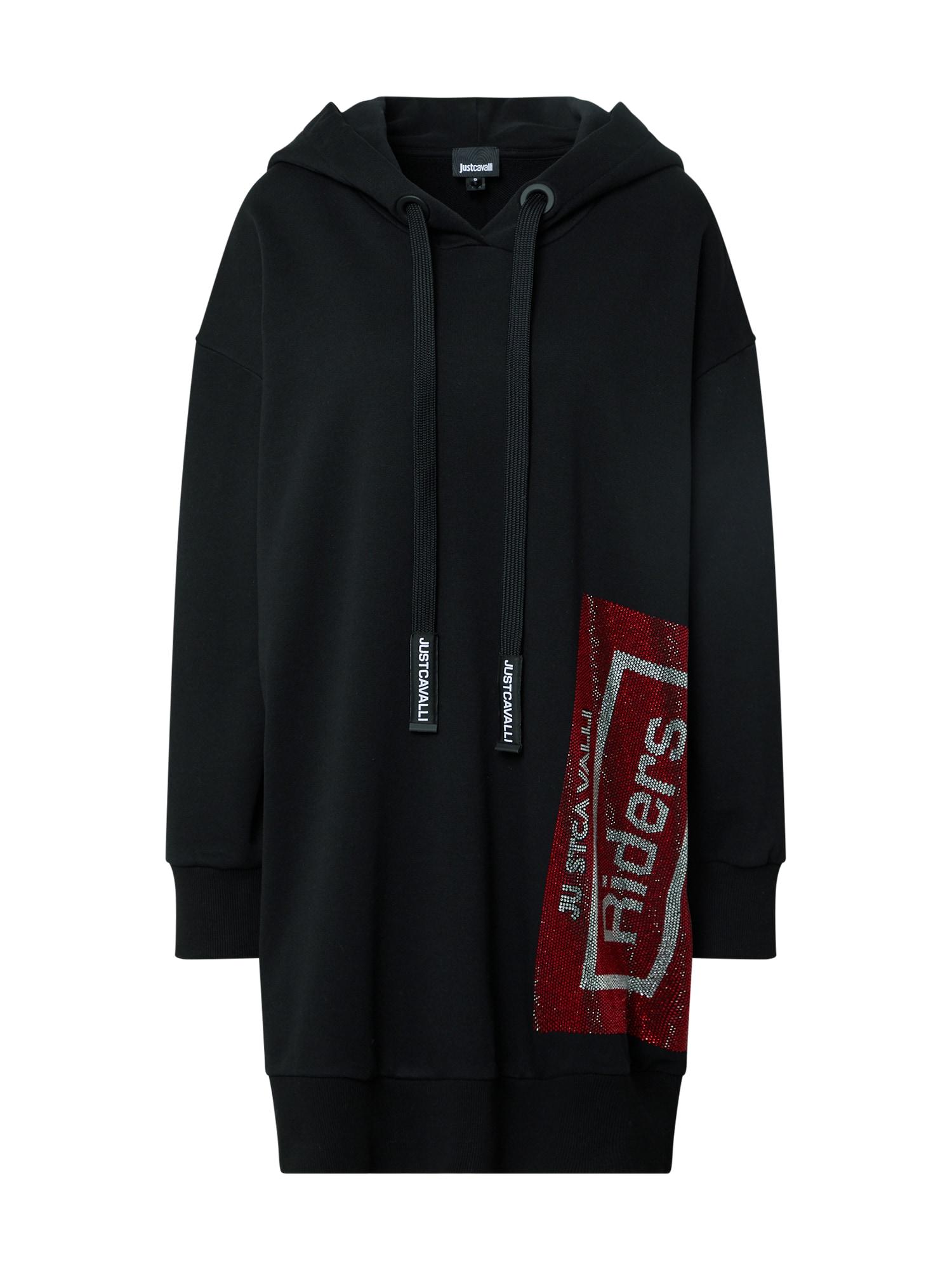 Just Cavalli Suknelė juoda / raudona / pilka