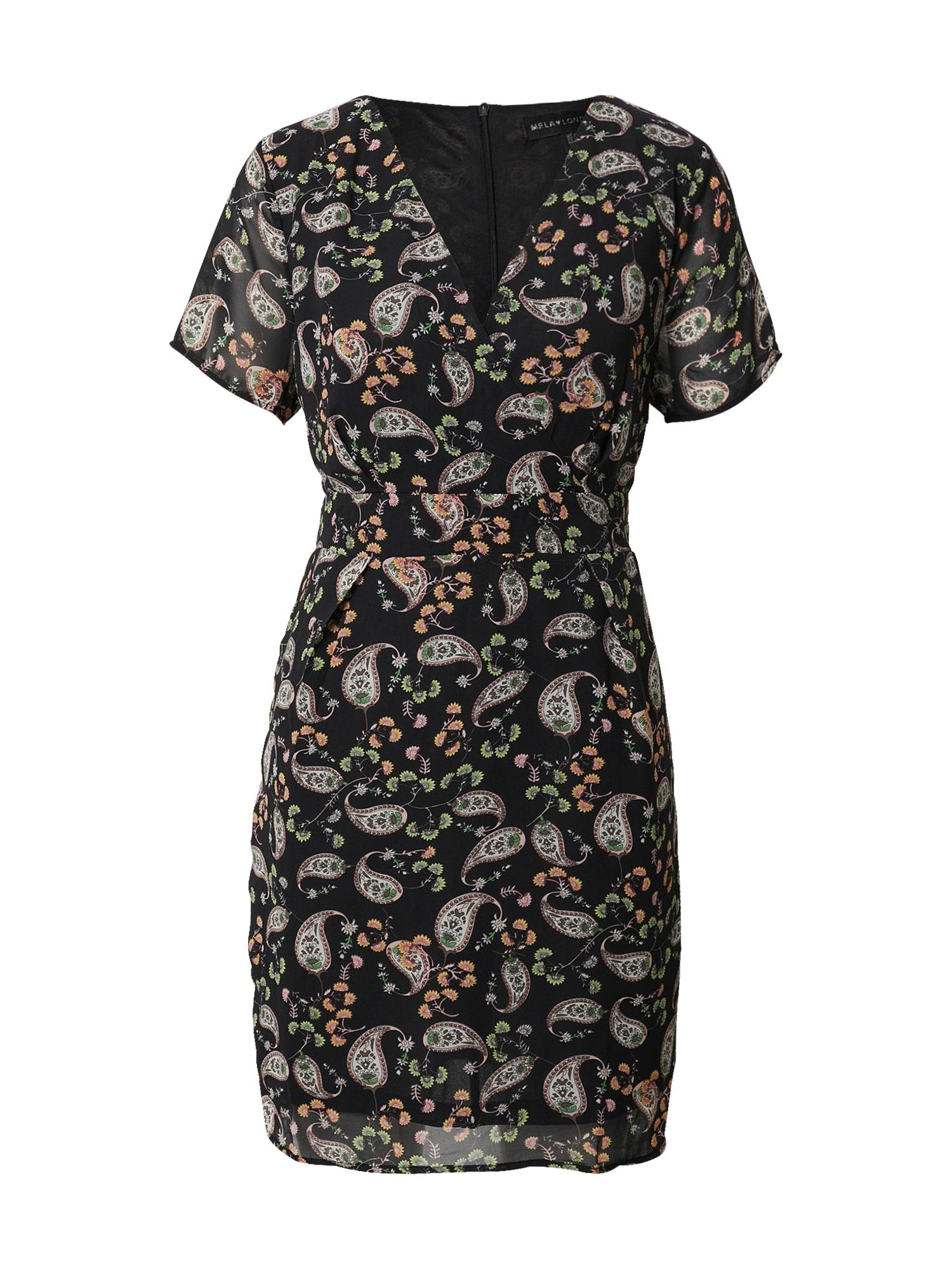 Mela London Suknelė juoda / balta / žalia / oranžinė