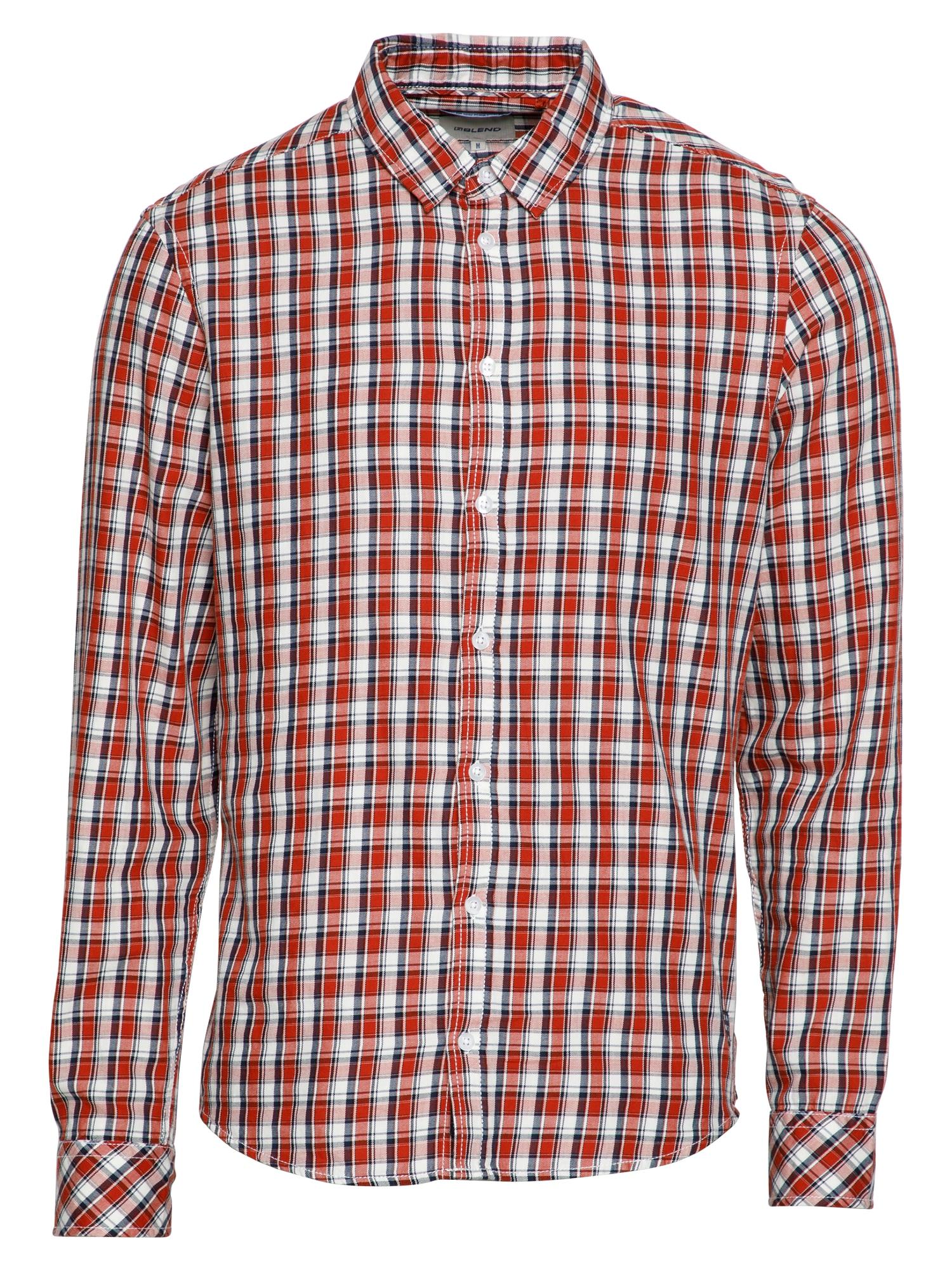 BLEND Marškiniai pastelinė raudona / tamsiai mėlyna / balta
