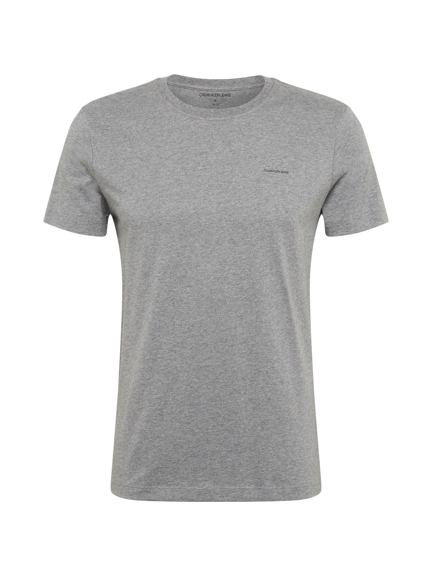 Calvin Klein Jeans Marškinėliai alyvuogių spalva / pilka / juoda