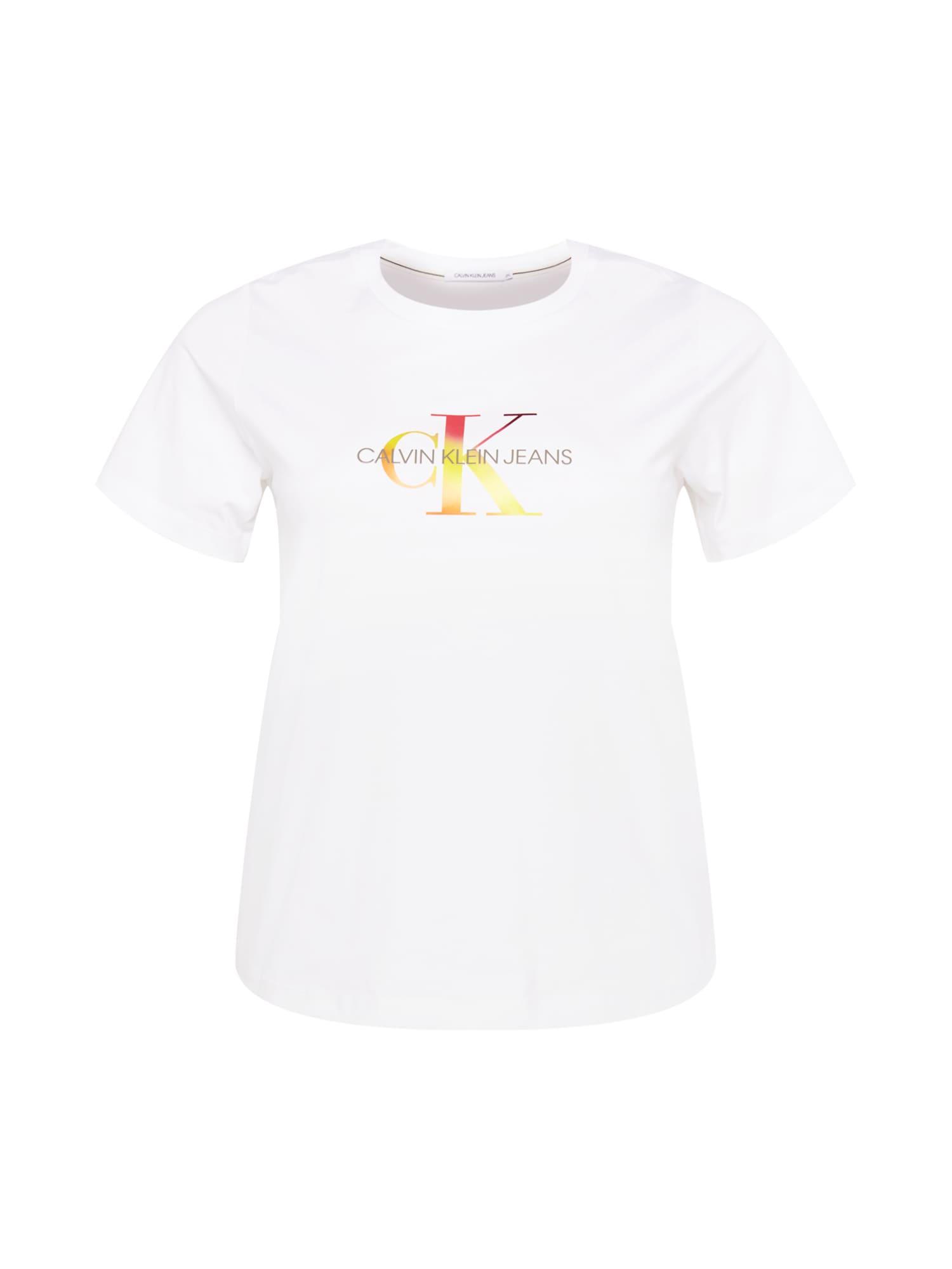 Calvin Klein Jeans Curve Marškinėliai balta / geltona / raudona / oranžinė