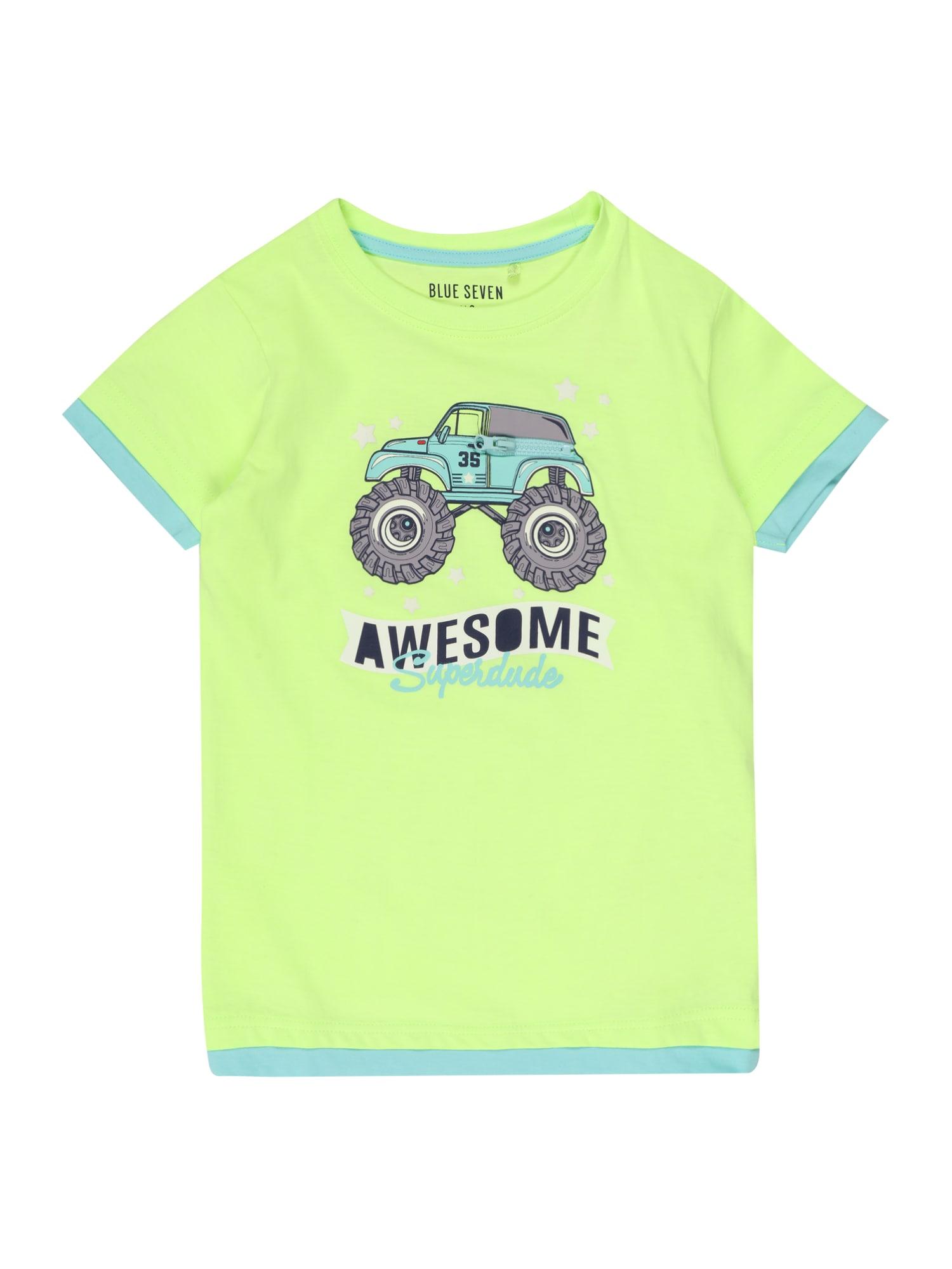 BLUE SEVEN Marškinėliai neoninė žalia / turkio spalva / pilka / balta