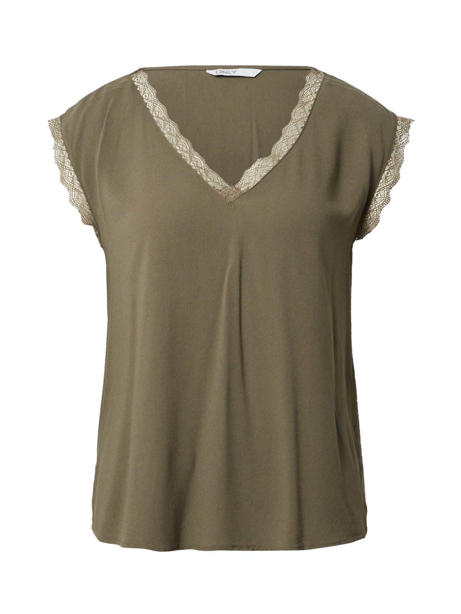 ONLY Marškinėliai 'JASMINA' rusvai žalia