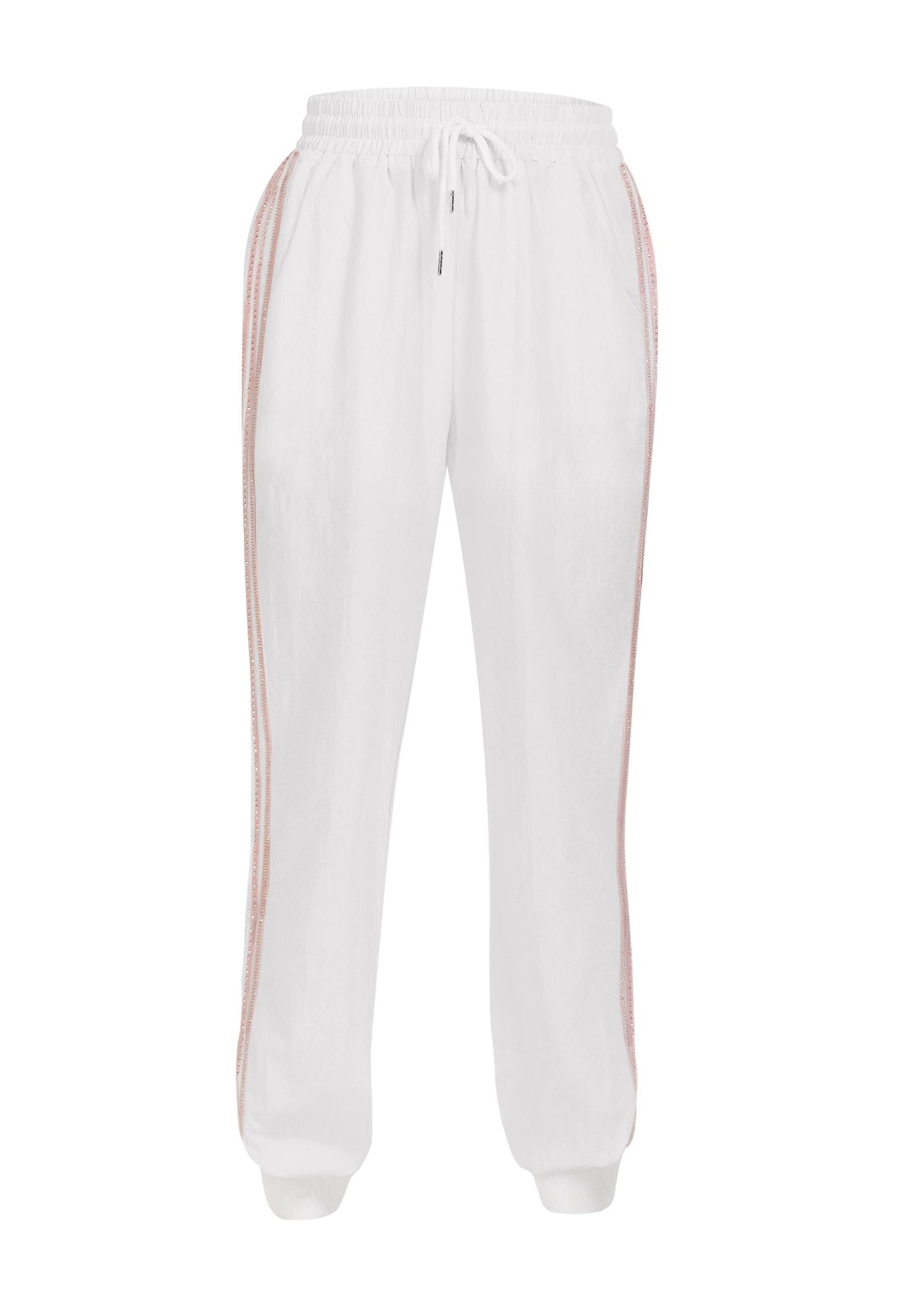MYMO Kelnės balta / ryškiai rožinė spalva