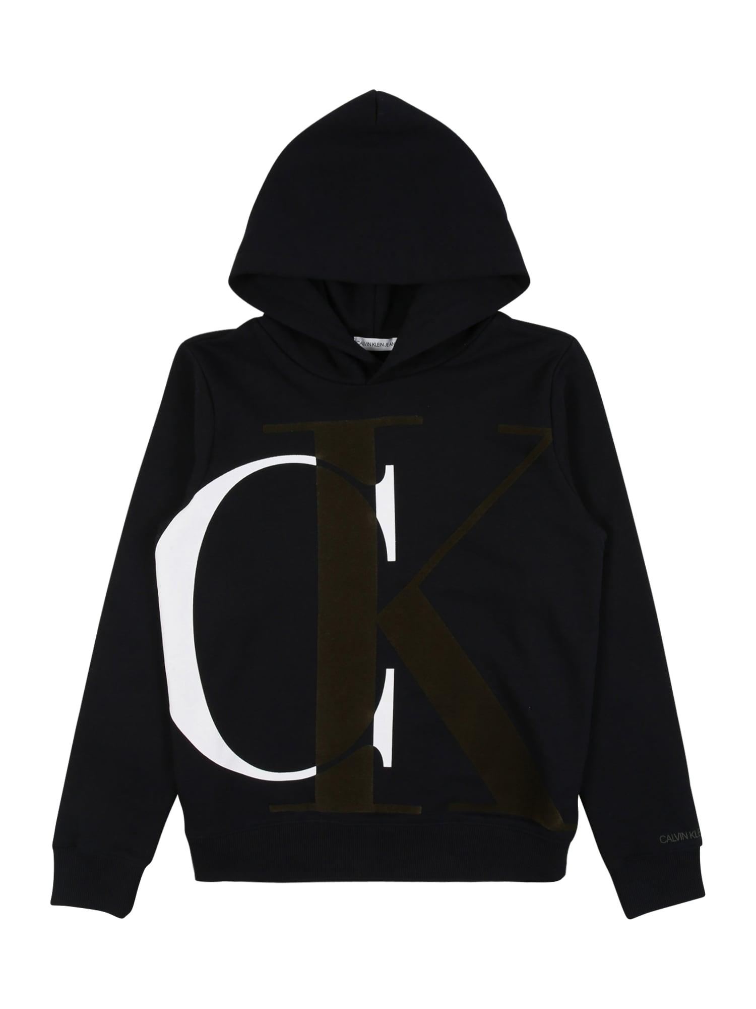 Calvin Klein Jeans Mikina 'EXPLODED'  černá / bílá / khaki