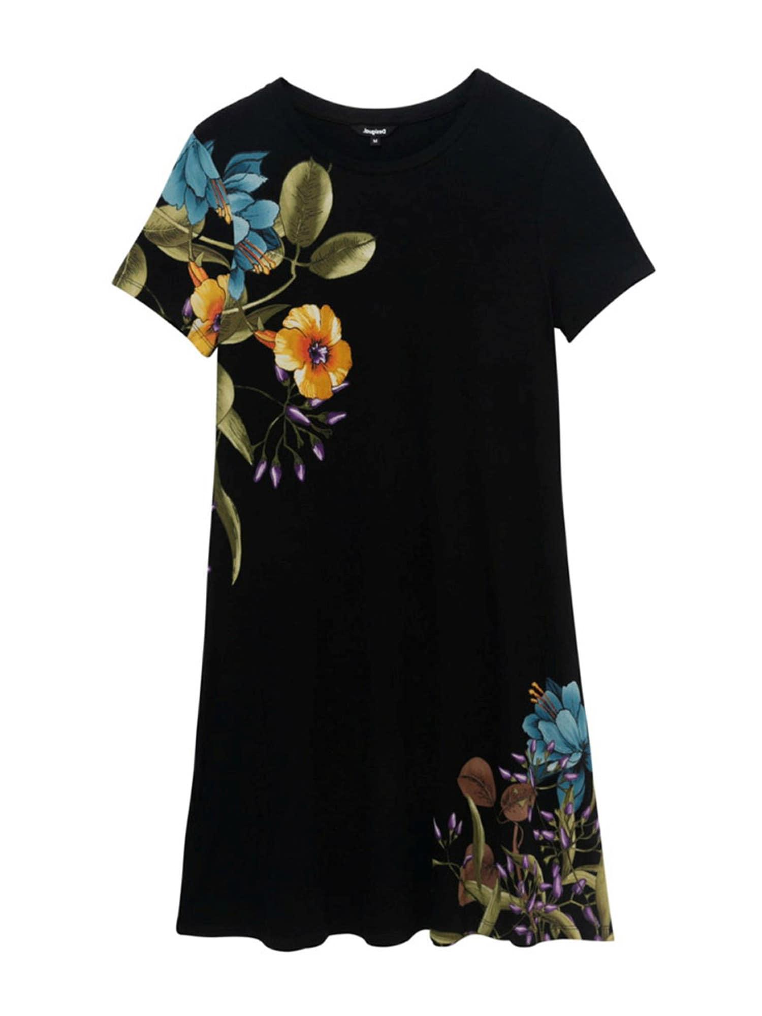 Desigual Letní šaty 'LAS VEGAS'  černá / žlutá / tmavě oranžová / tmavě hnědá / olivová