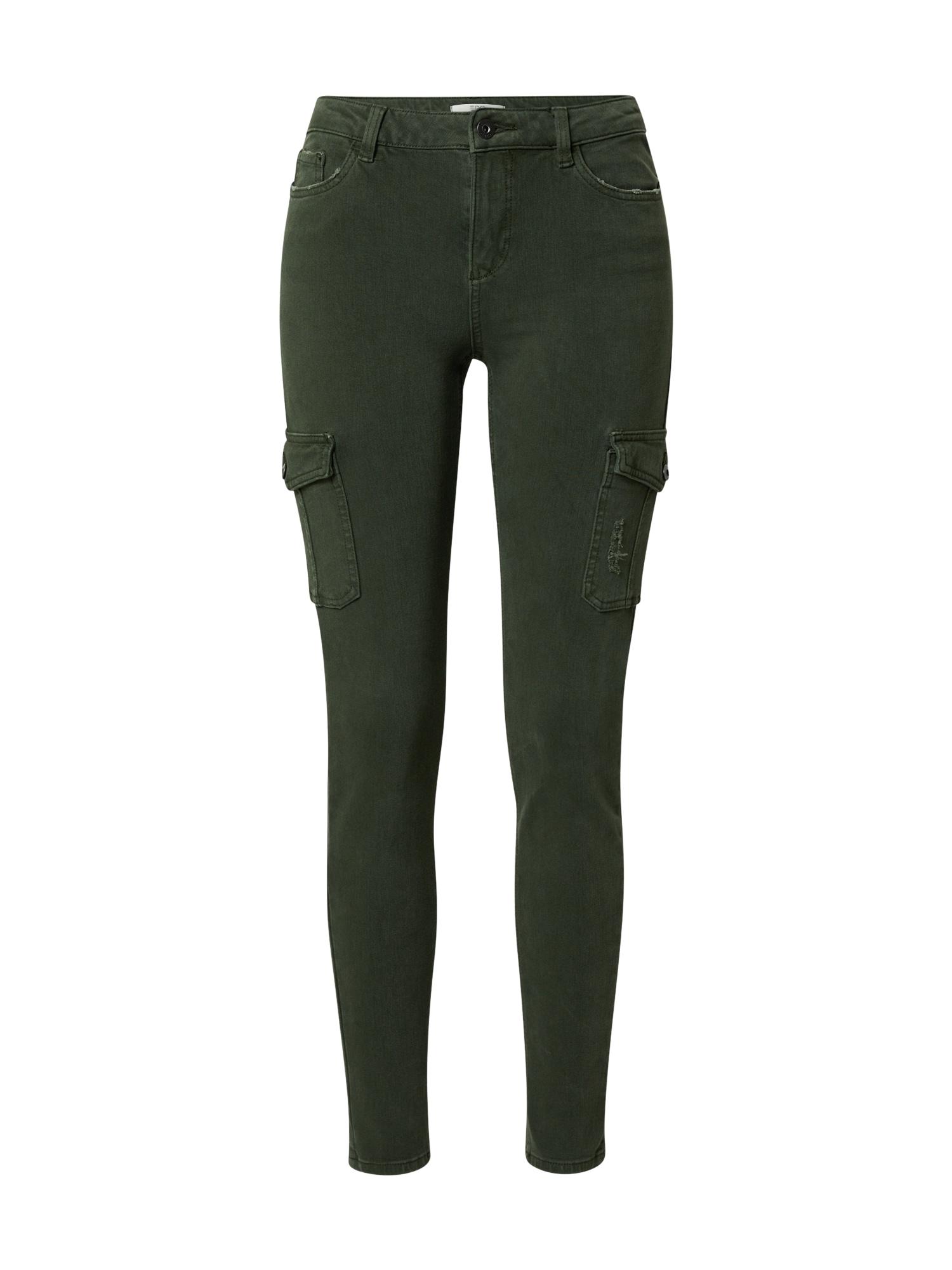 EDC BY ESPRIT Darbinio stiliaus džinsai rusvai žalia