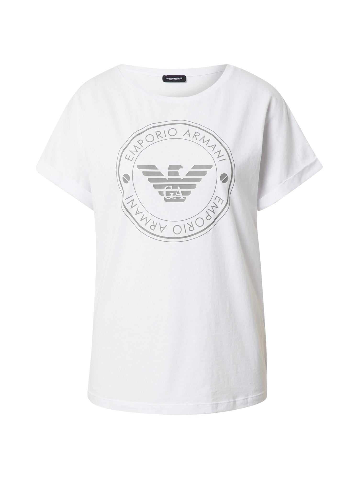 Emporio Armani Pižaminiai marškinėliai balta / pilka