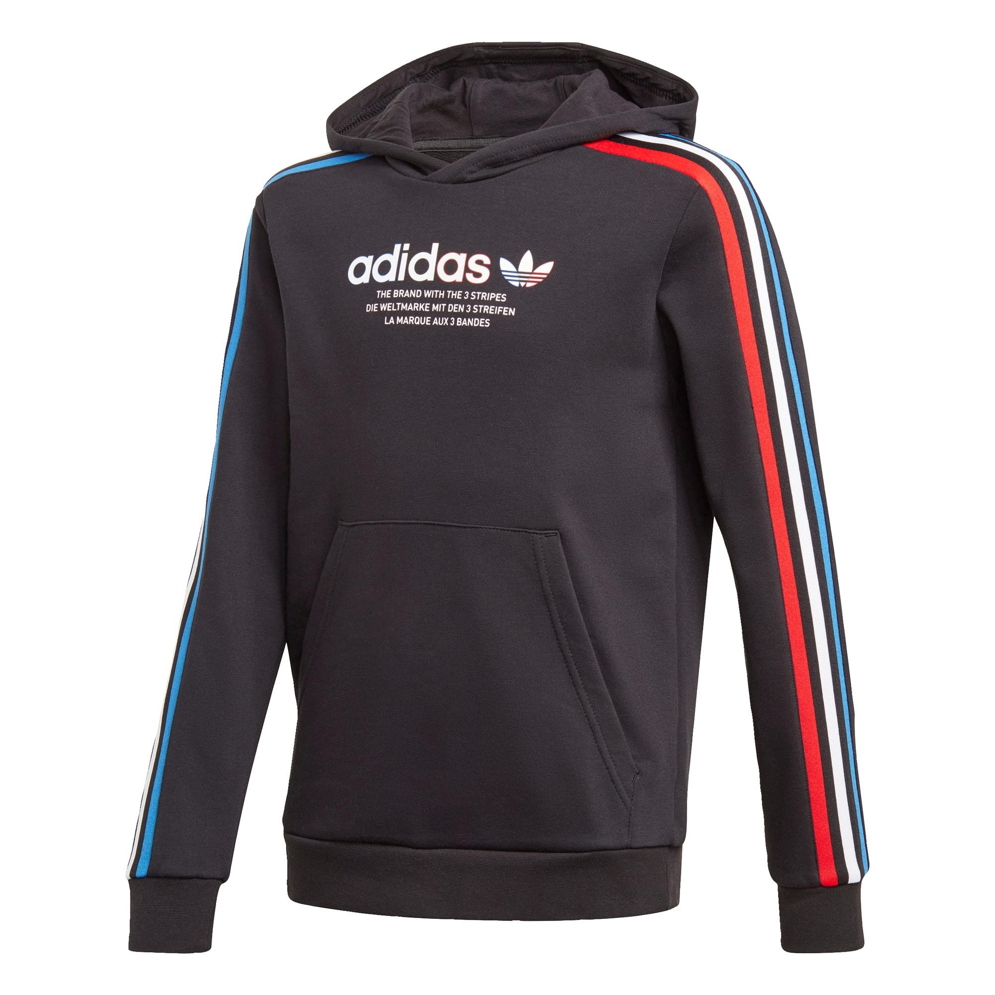 ADIDAS ORIGINALS Megztinis be užsegimo juoda / balta / mėlyna / šviesiai raudona