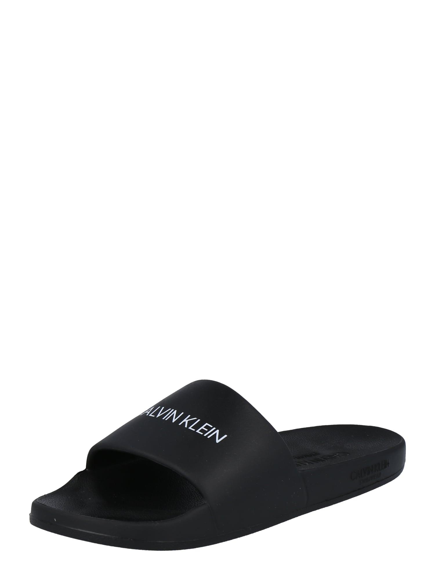 Calvin Klein Swimwear Atviri batai 'ONE MOLD SLIDE' juoda / balta