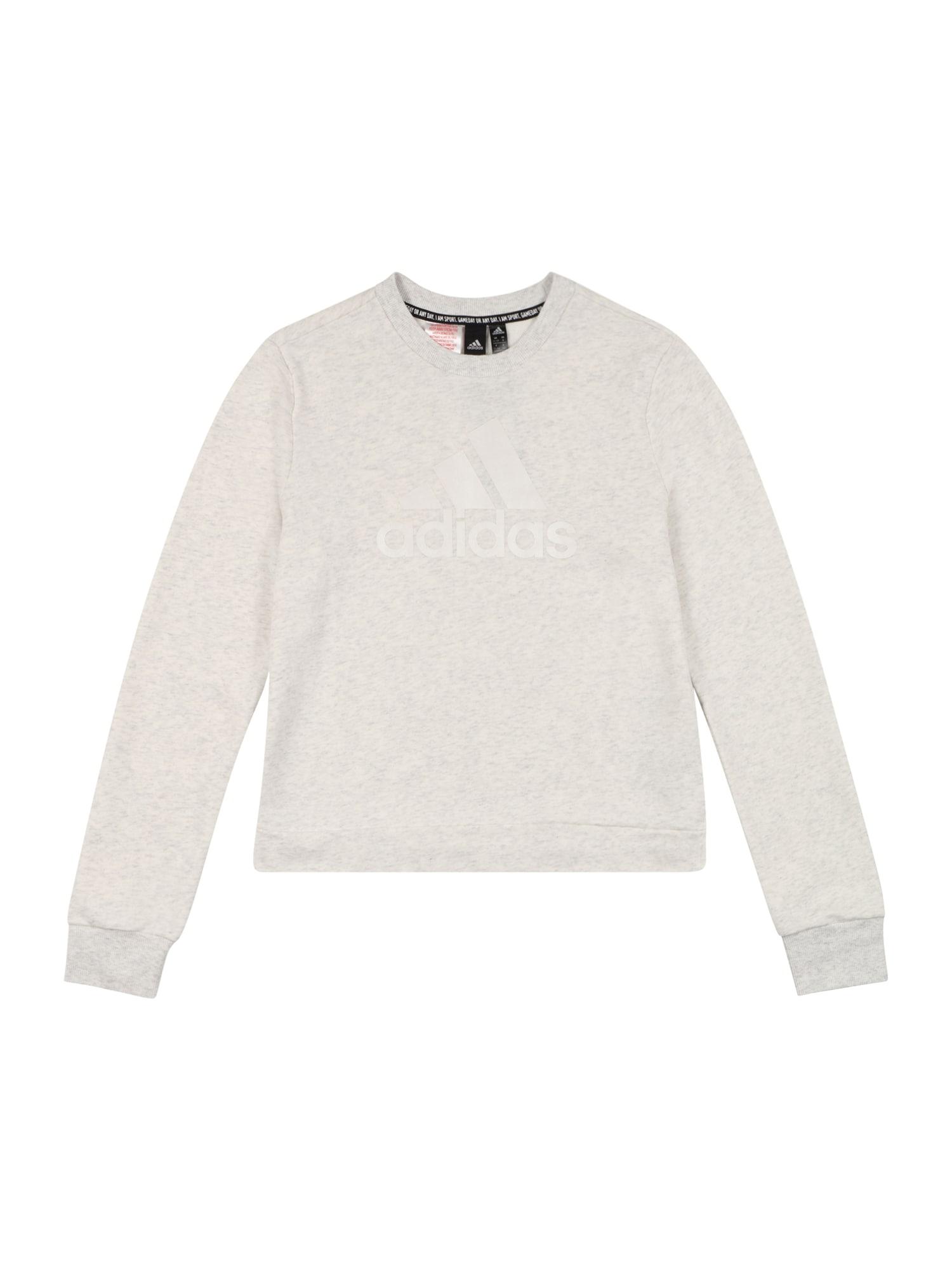 ADIDAS PERFORMANCE Sportinio tipo megztinis 'BOS' šviesiai pilka / natūrali balta