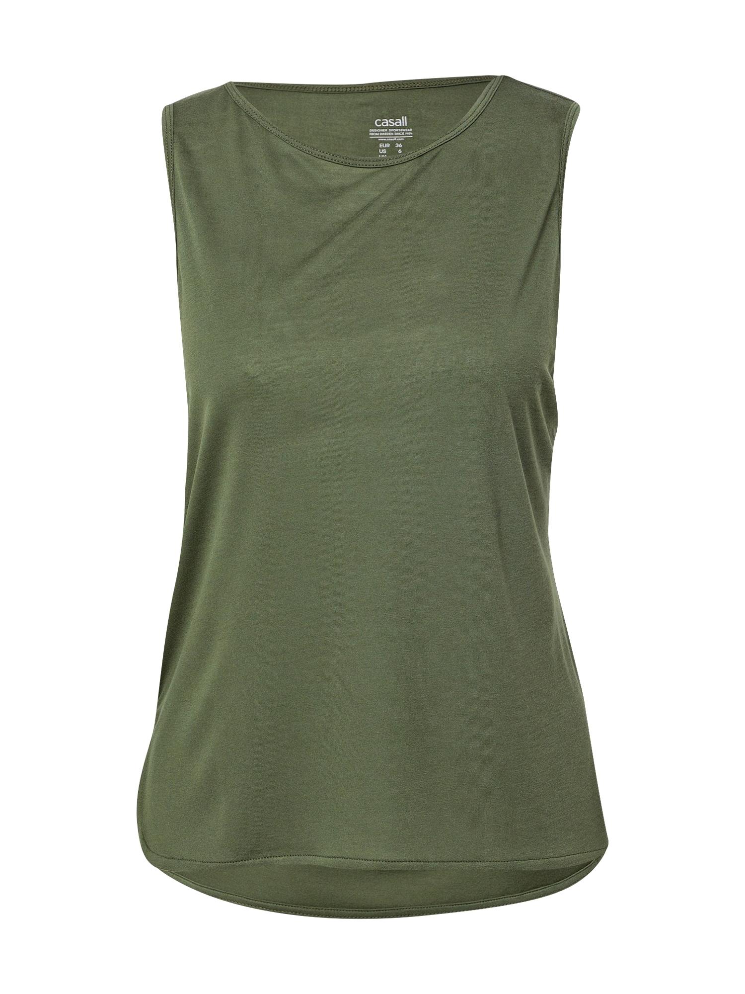 Casall Sportiniai marškinėliai be rankovių alyvuogių spalva / tamsiai pilka