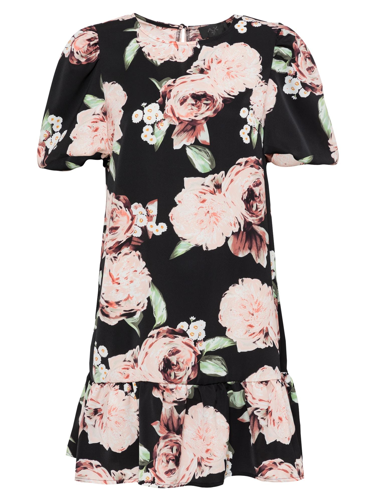AX Paris Suknelė juoda / rožių spalva / žalia / balta / oranžinė