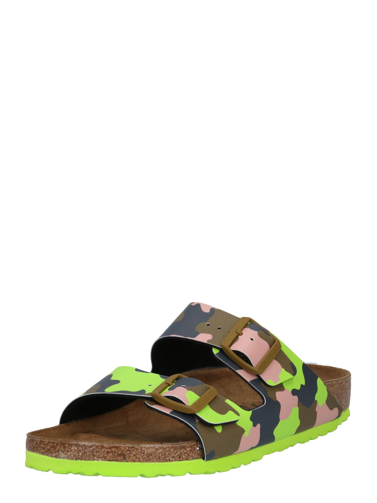 BIRKENSTOCK Pantofle 'Arizona Seasonal Pops'  hnědá / svítivě zelená / khaki / starorůžová
