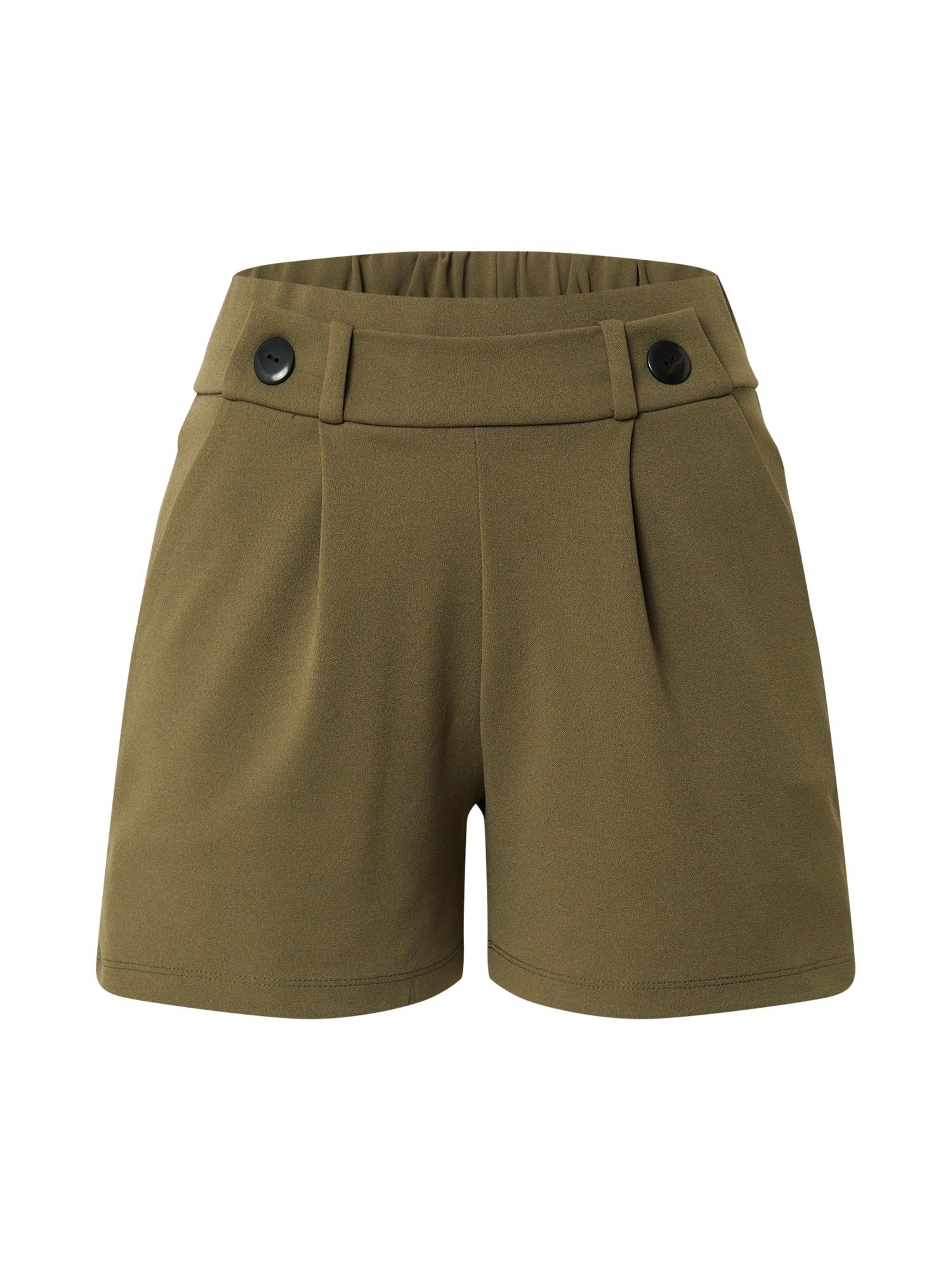 JACQUELINE de YONG Klostuotos kelnės 'GEGGO' rusvai žalia