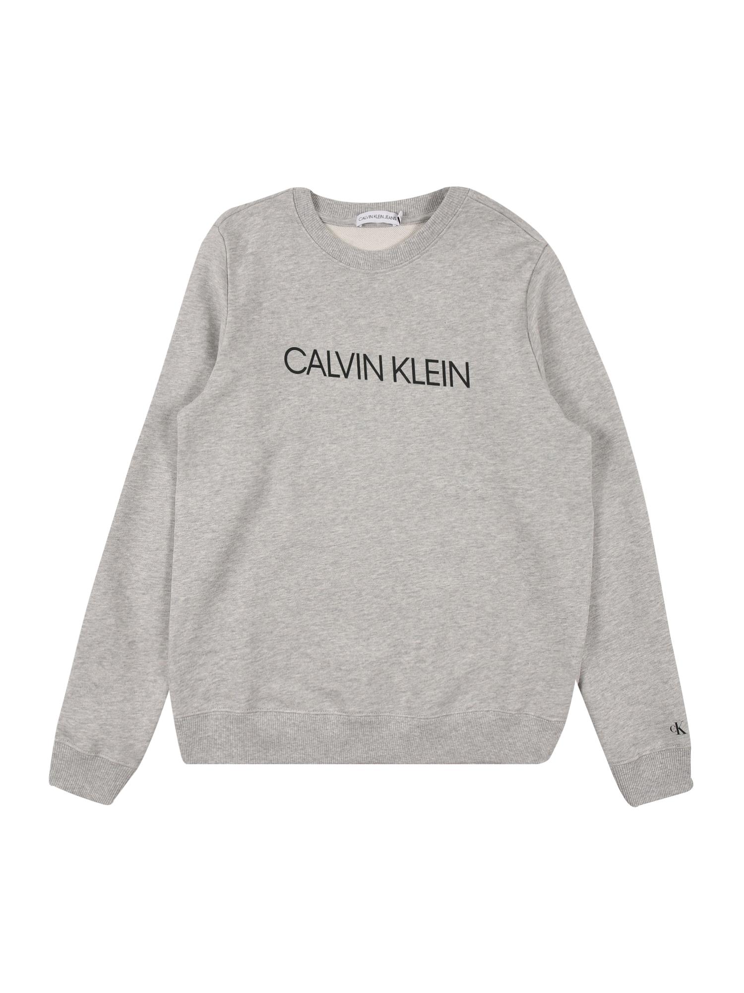 Calvin Klein Jeans Megztinis be užsegimo margai pilka / juoda