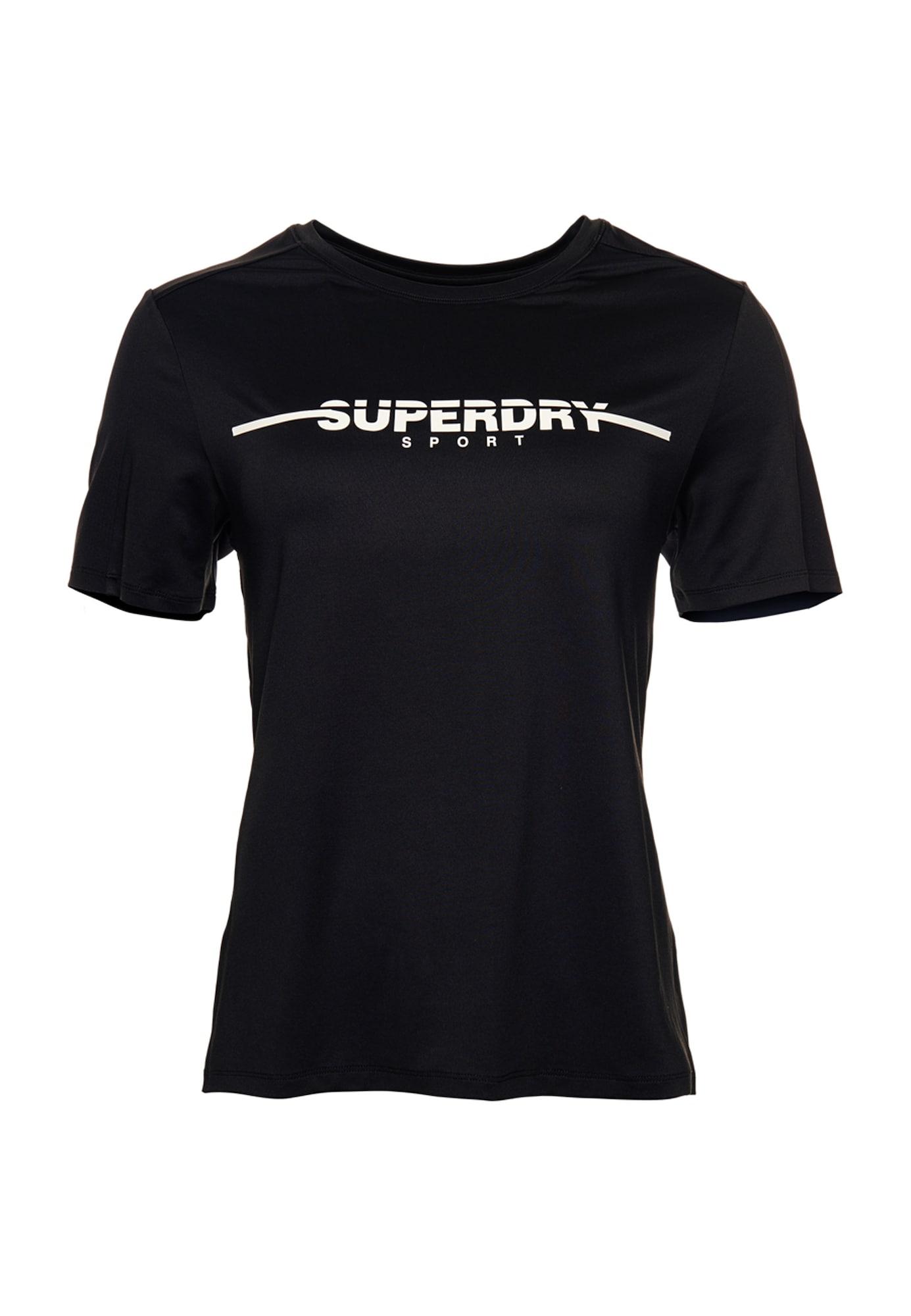 Superdry Sportiniai marškinėliai balta / juoda
