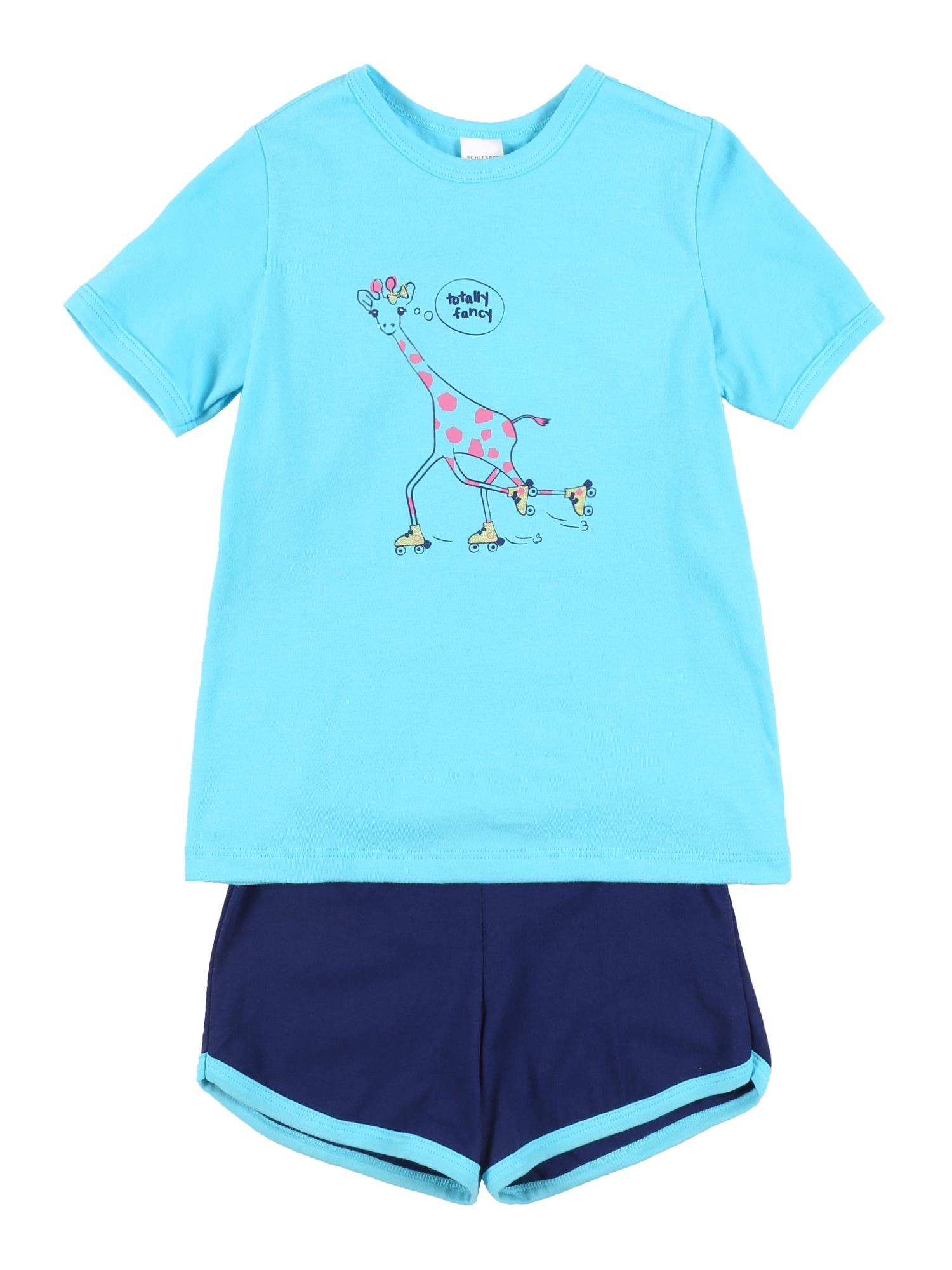 SCHIESSER Miego kostiumas turkio spalva / tamsiai mėlyna / rožių spalva / geltona