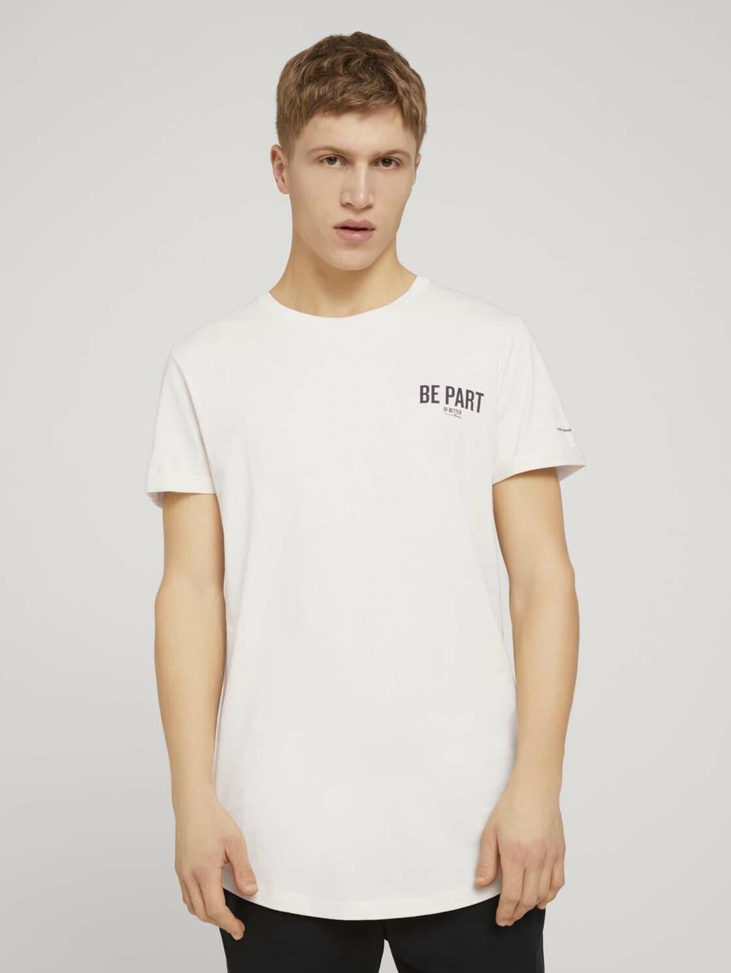 TOM TAILOR DENIM Tričko  bílá / černá