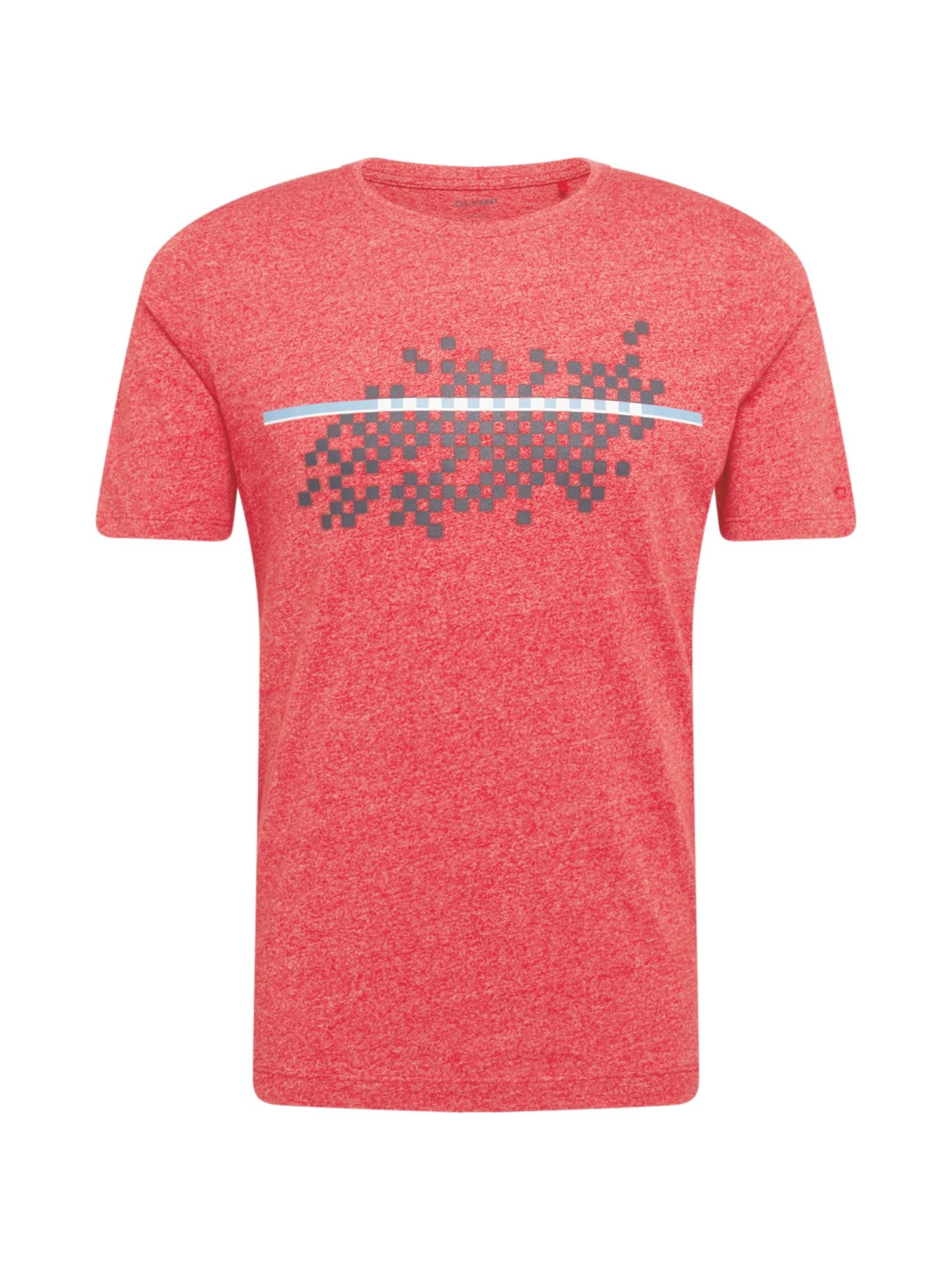 OLYMP Marškinėliai margai raudona / margai balta / šviesiai mėlyna / tamsiai pilka