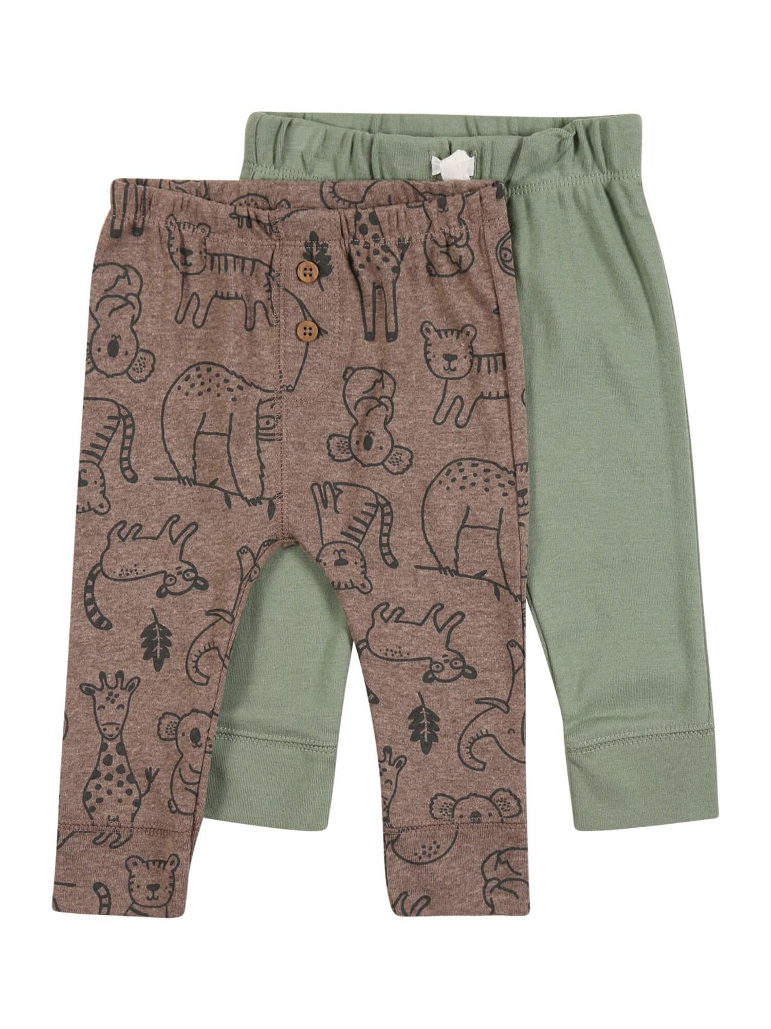 Carter's Kelnės 'Bottoms' žalia / ruda / juoda