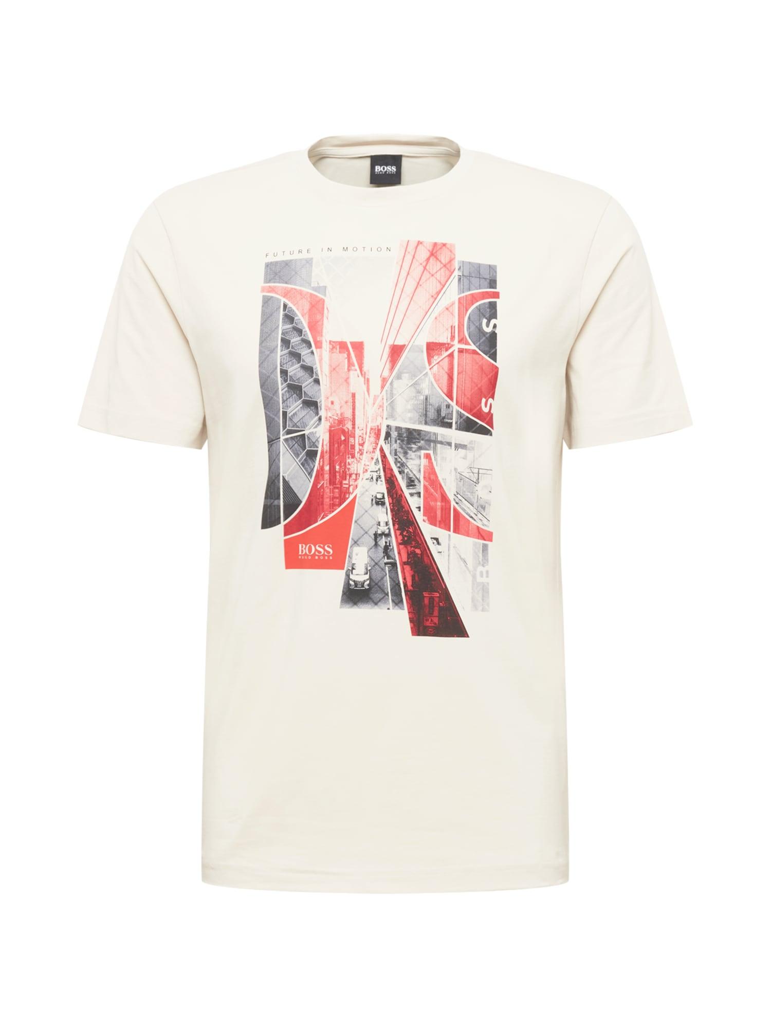 BOSS ATHLEISURE Tričko  krémová / červená / tmavě šedá