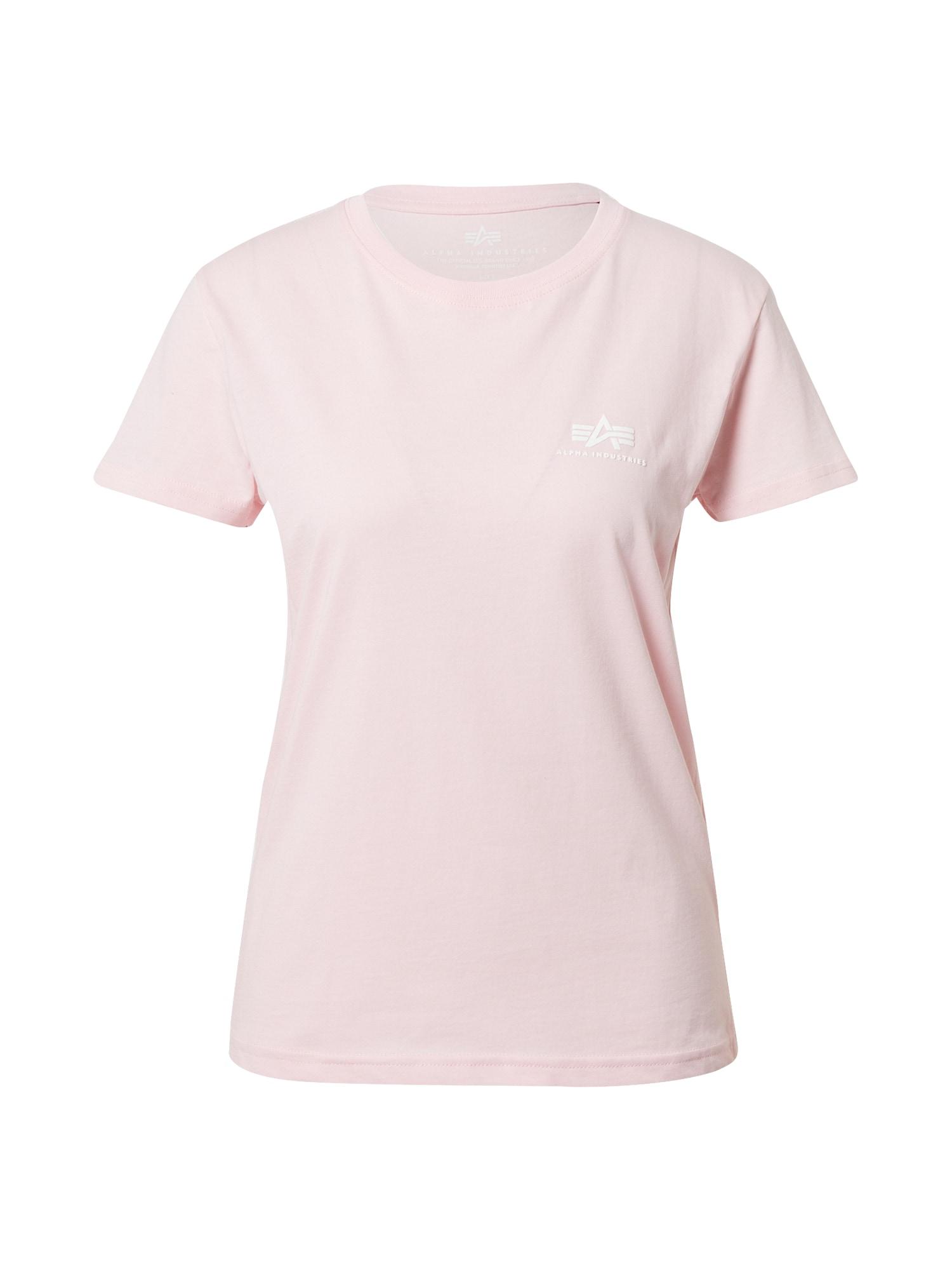ALPHA INDUSTRIES Marškinėliai rožinė / balta