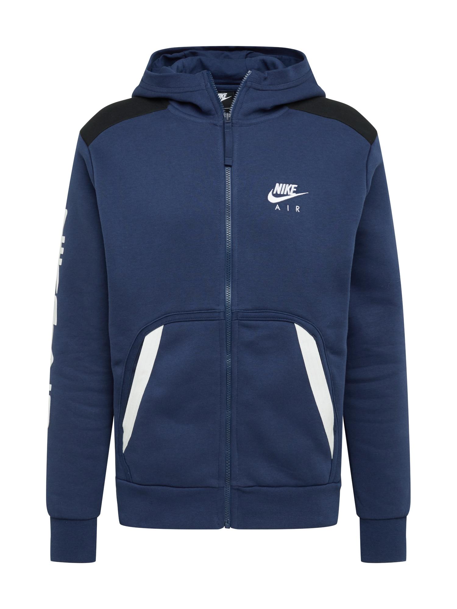 Nike Sportswear Džemperis balta / tamsiai mėlyna / juoda