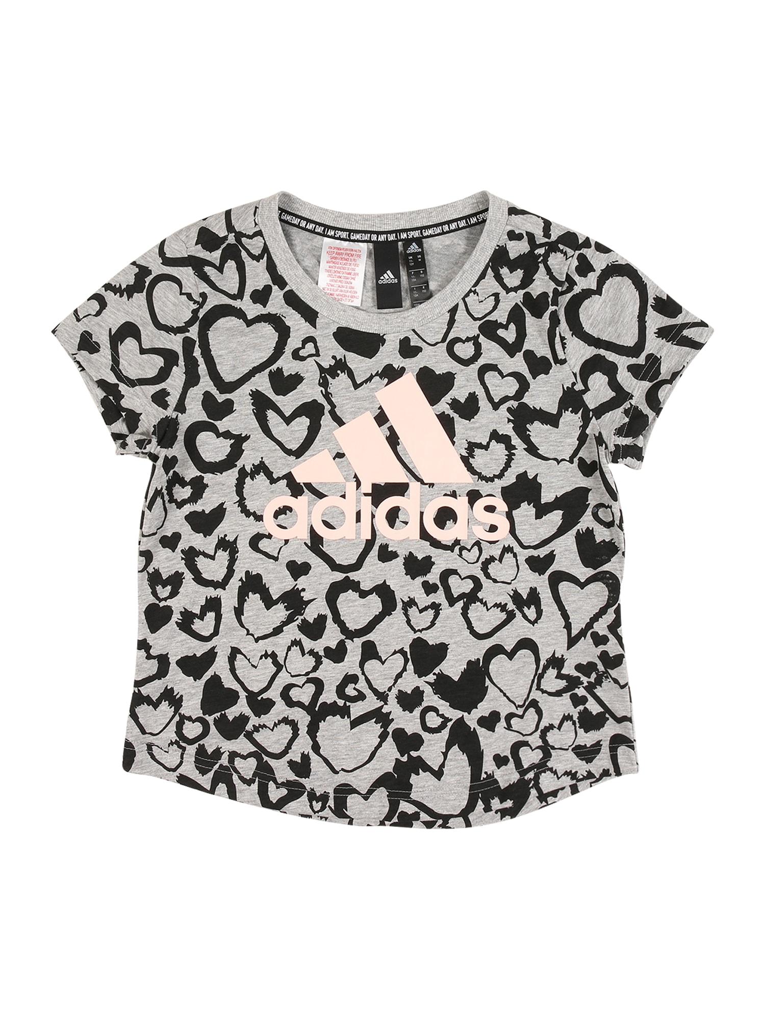 ADIDAS PERFORMANCE Sportiniai marškinėliai šviesiai pilka / juoda / rožių spalva