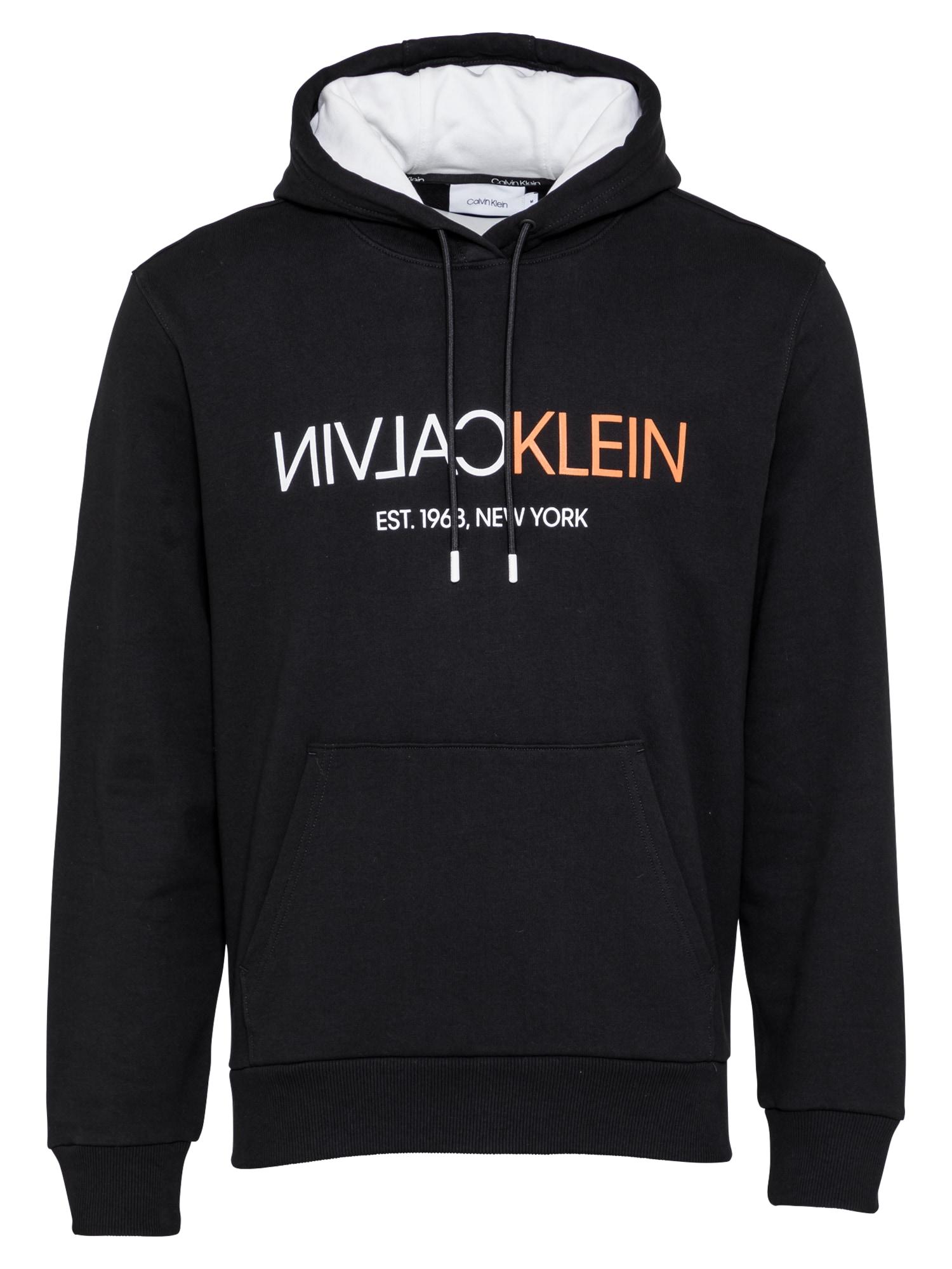 Calvin Klein Megztinis be užsegimo juoda / balta / koralų splava