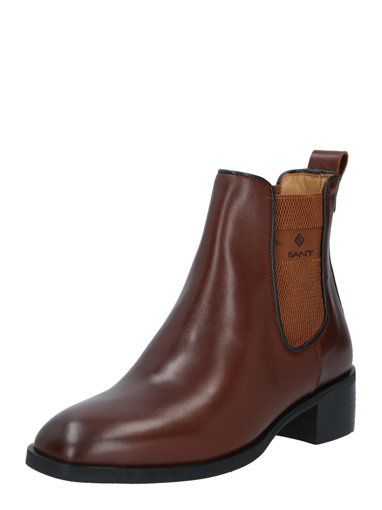 GANT Chelsea boty  tmavě hnědá / karamelová / černá