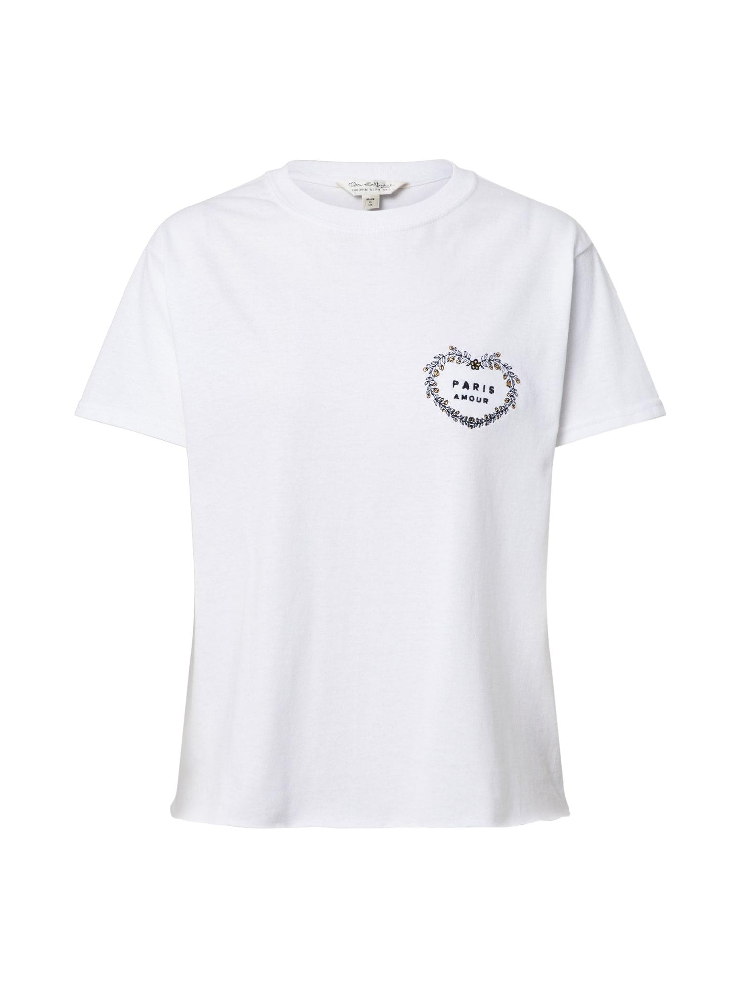 Miss Selfridge Marškinėliai balta / juoda / auksas