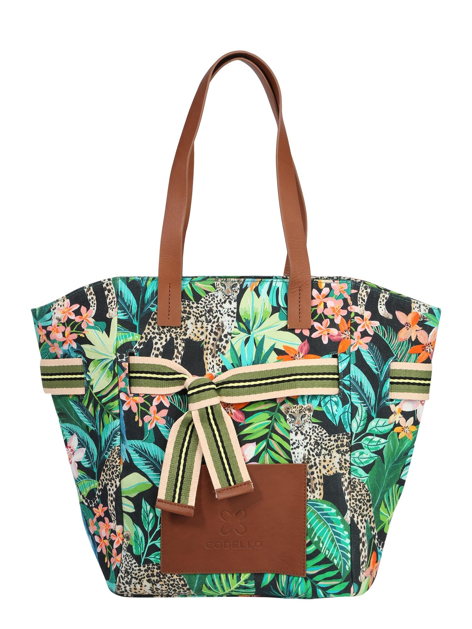 CODELLO Pirkinių krepšys žalia / turkio spalva / juoda / pastelinė žalia / tamsiai žalia