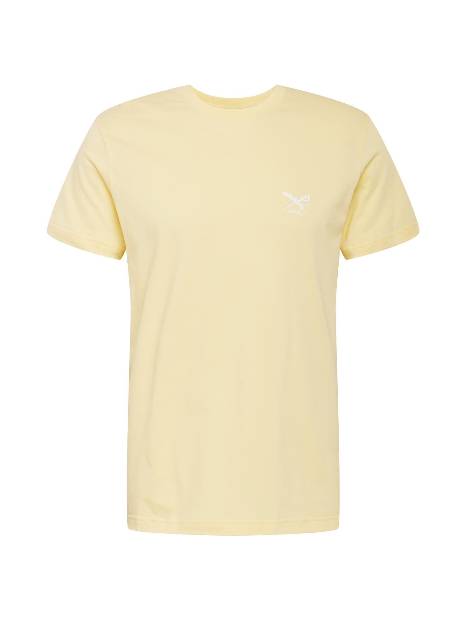 Iriedaily Marškinėliai 'Chestflag' žaliosios citrinos spalva / balta
