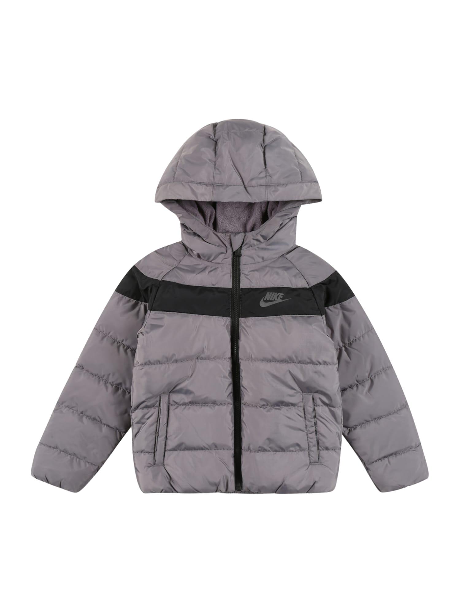Nike Sportswear Žieminė striukė tamsiai pilka / juoda