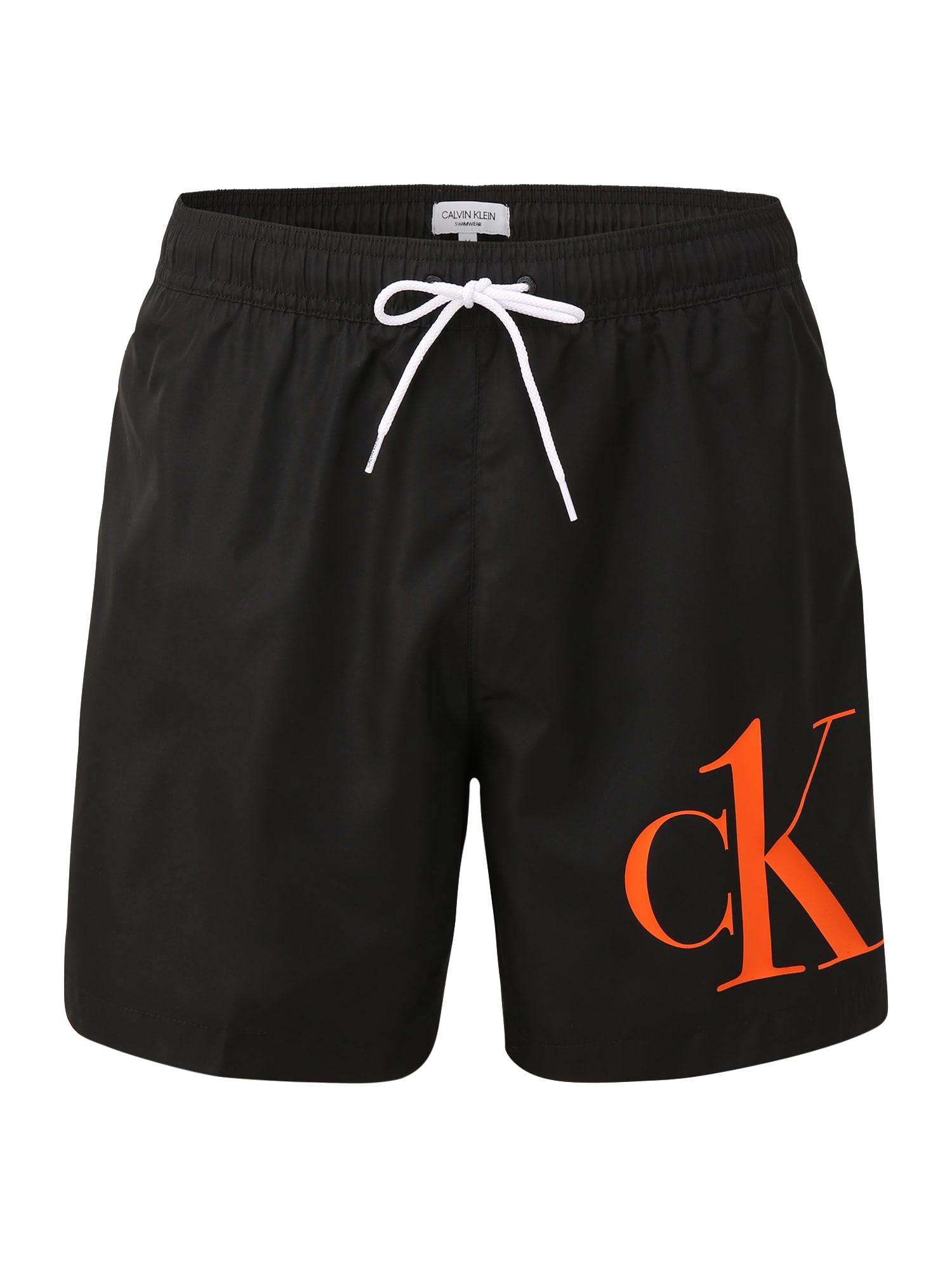 Calvin Klein Swimwear Maudymosi trumpikės juoda / balta / oranžinė