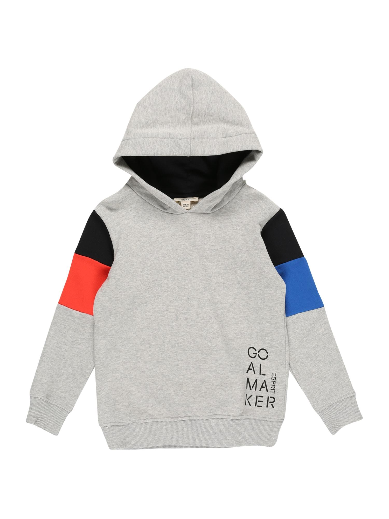 ESPRIT Megztinis be užsegimo pilka / juoda / oranžinė-raudona / mėlyna