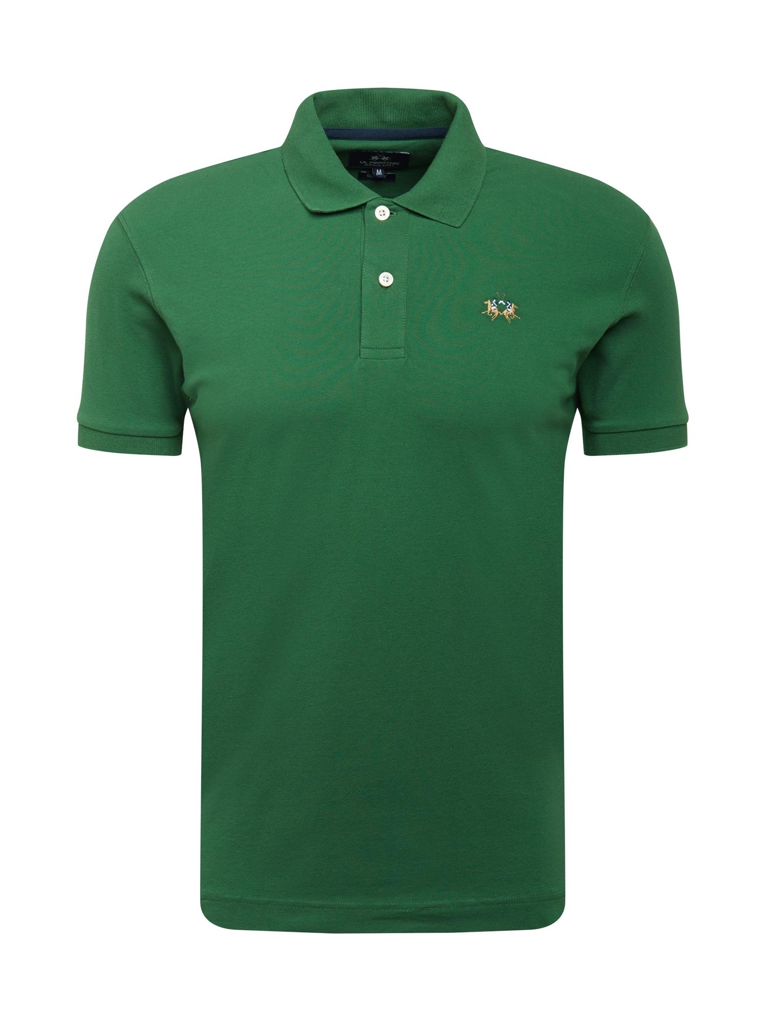 La Martina Marškinėliai žolės žalia / gelsvai pilka spalva