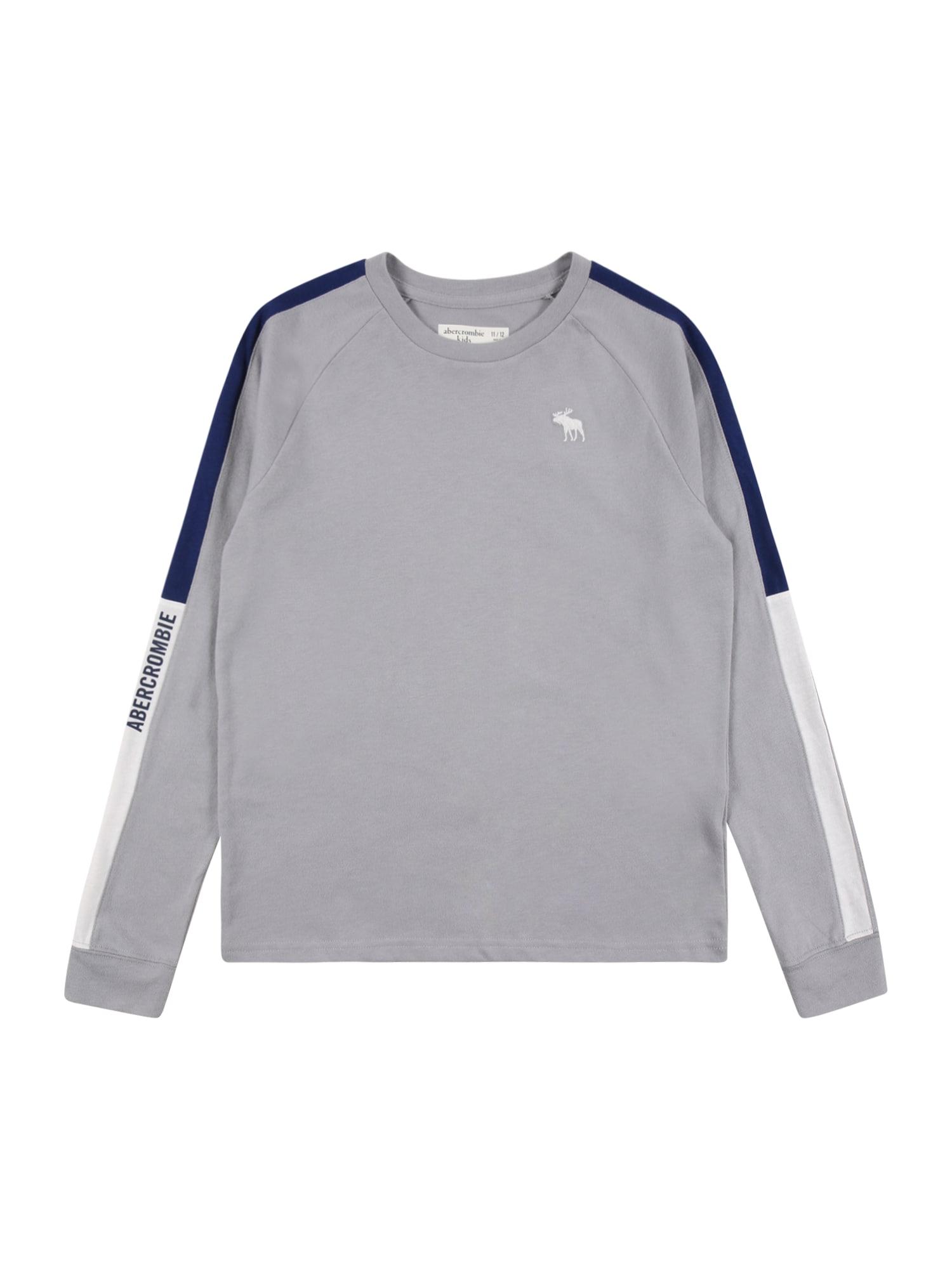 Abercrombie & Fitch Marškinėliai pilka / balta / tamsiai mėlyna jūros spalva