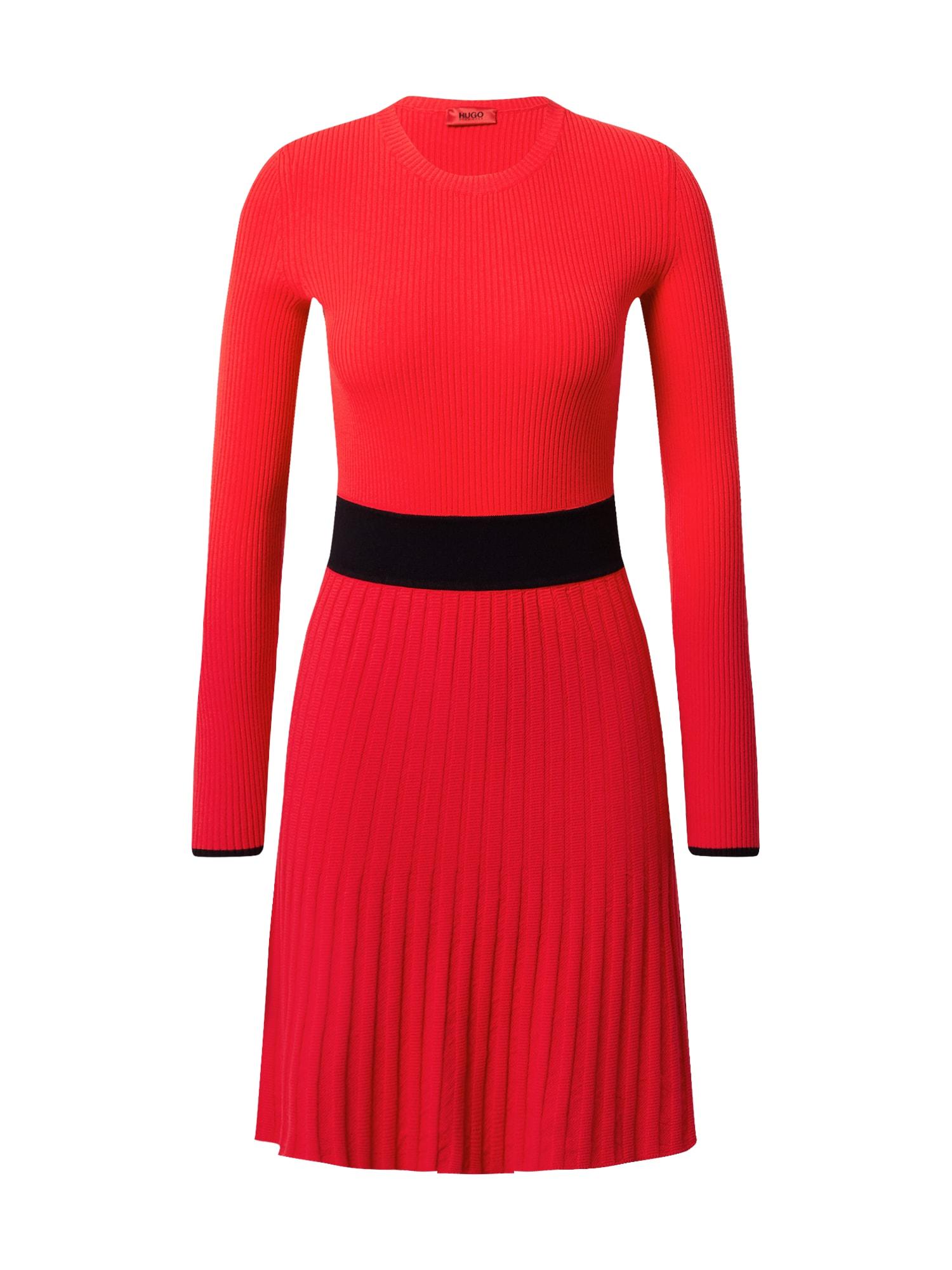 HUGO Šaty 'Seagery'  červená / černá