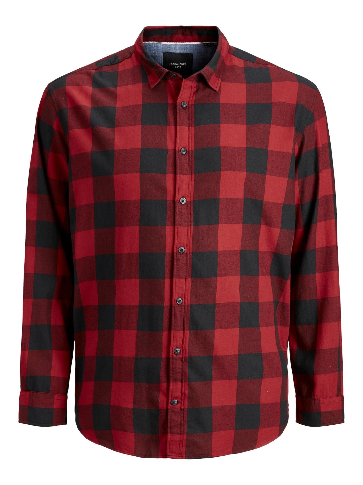 JACK & JONES Marškiniai kraujo spalva / juoda