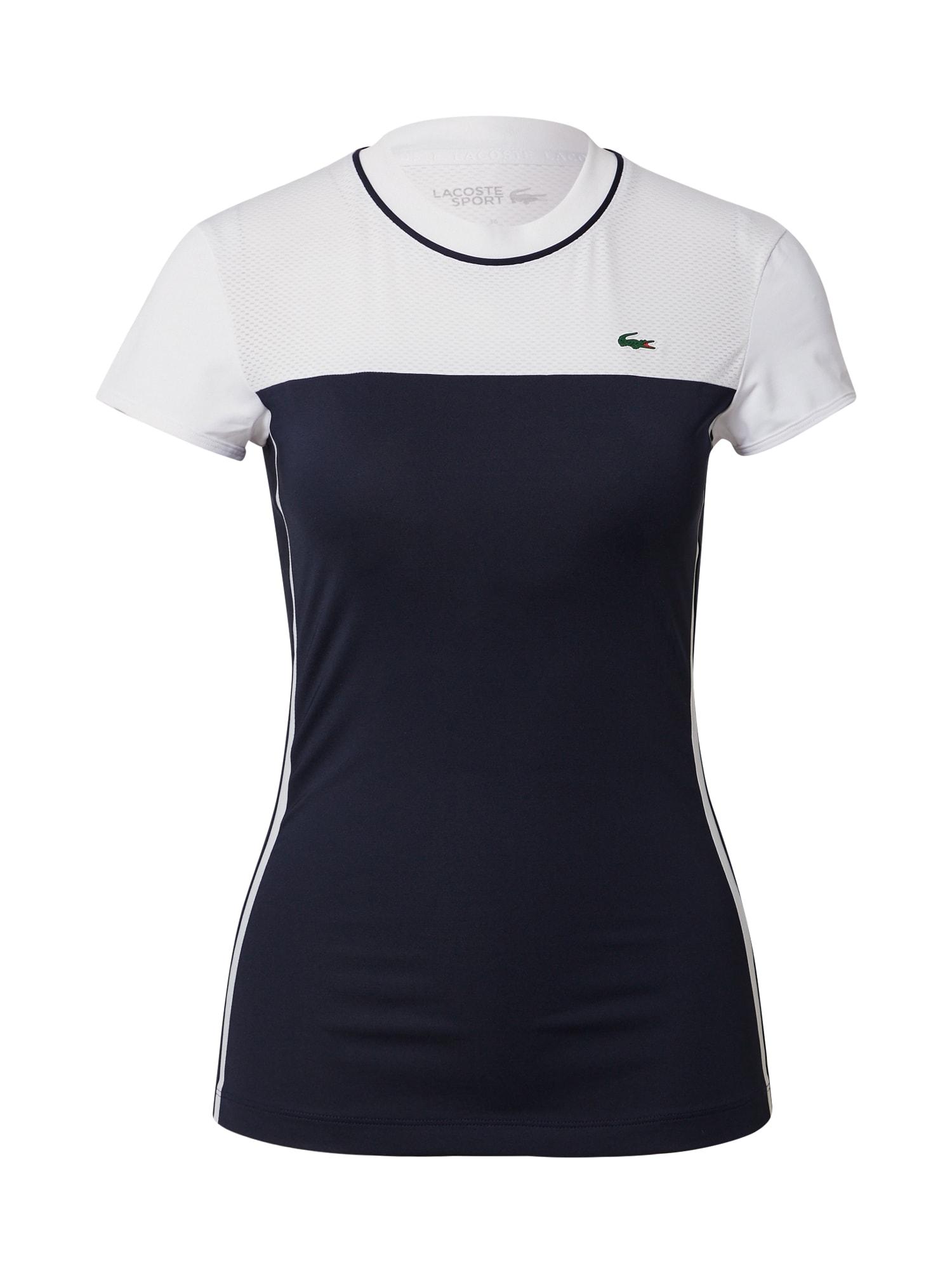 Lacoste Sport Sportiniai marškinėliai balta / nakties mėlyna