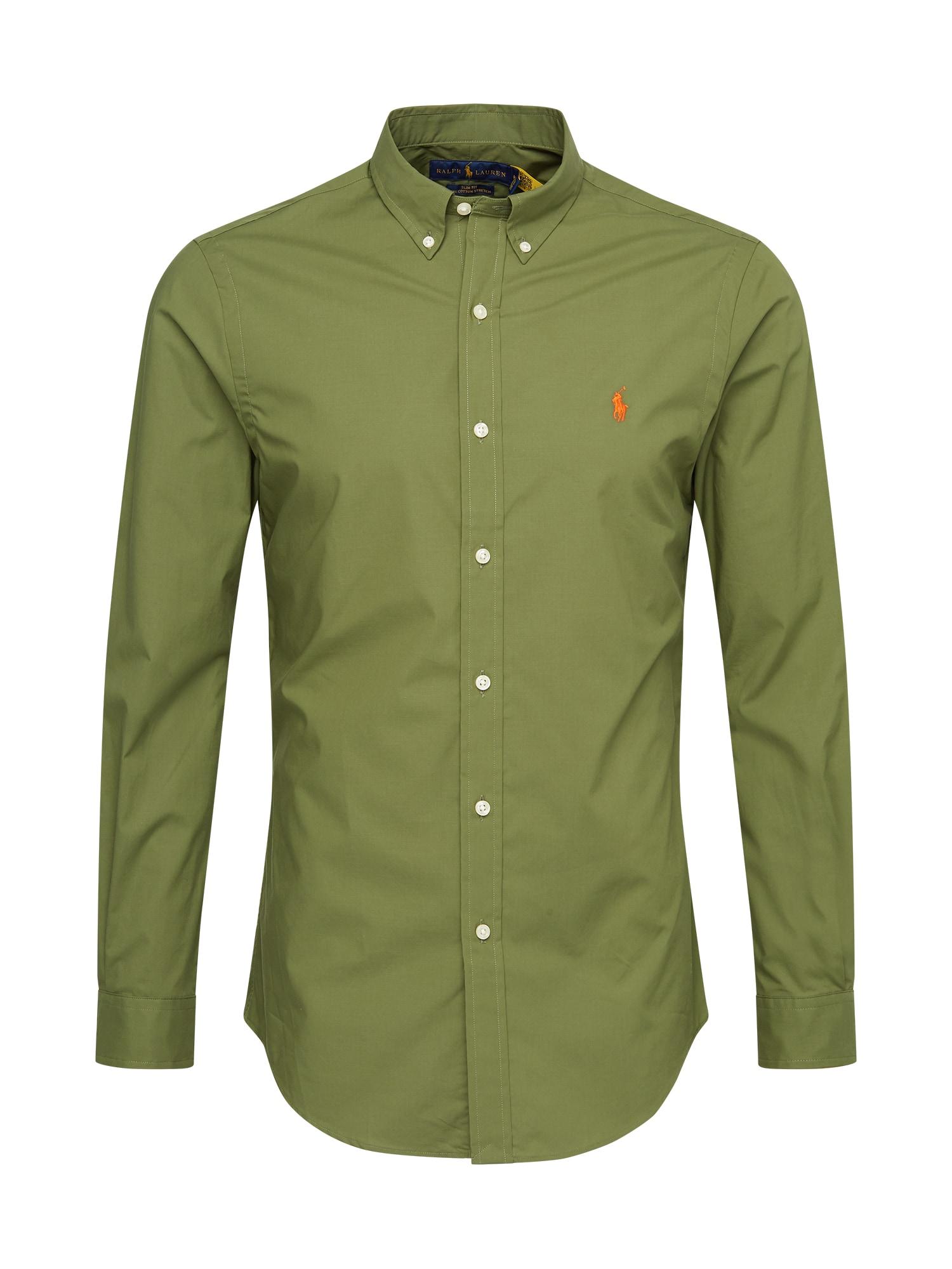 POLO RALPH LAUREN Dalykinio stiliaus marškiniai alyvuogių spalva