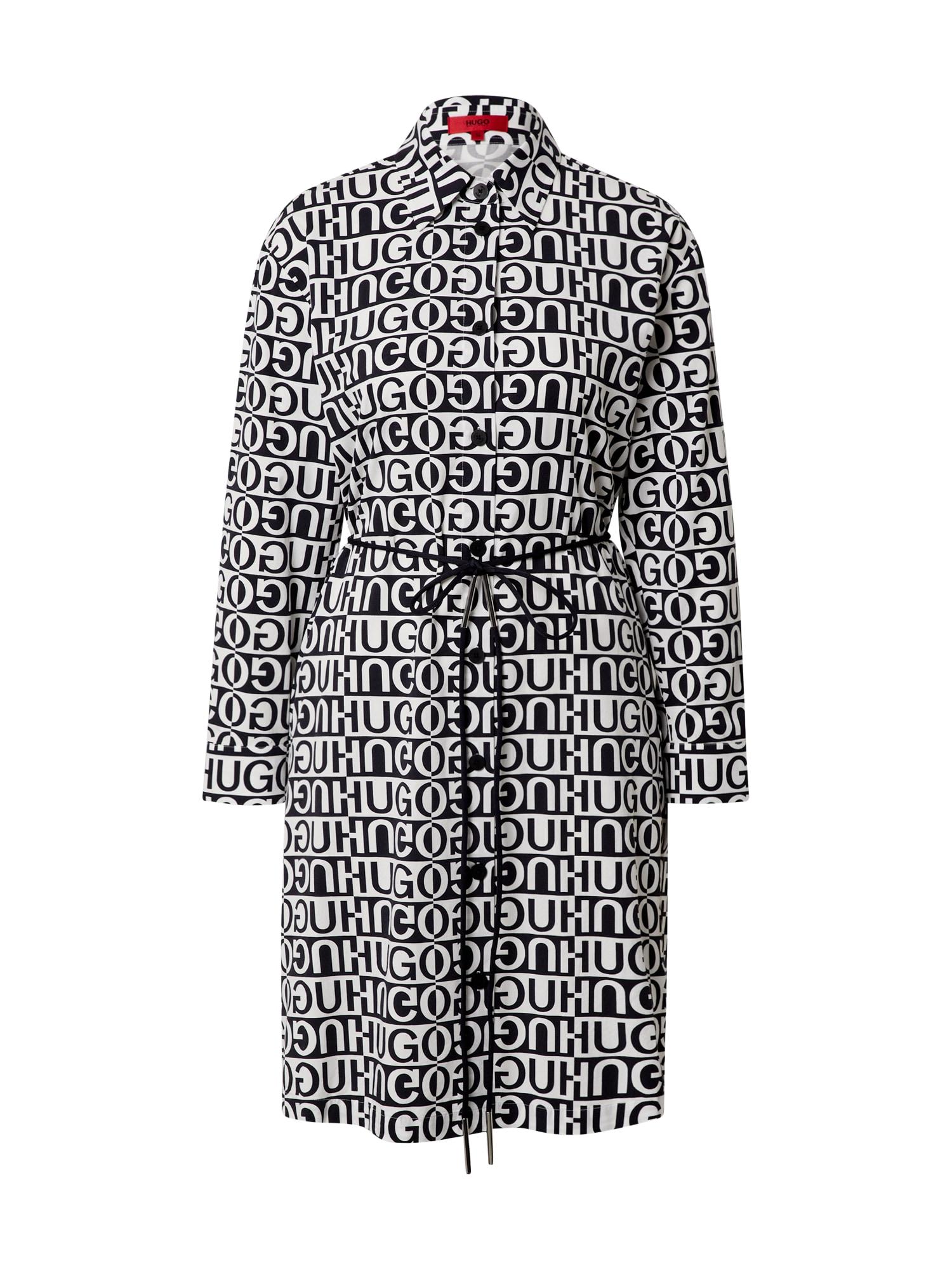 HUGO Košilové šaty 'Emissa'  černá / bílá