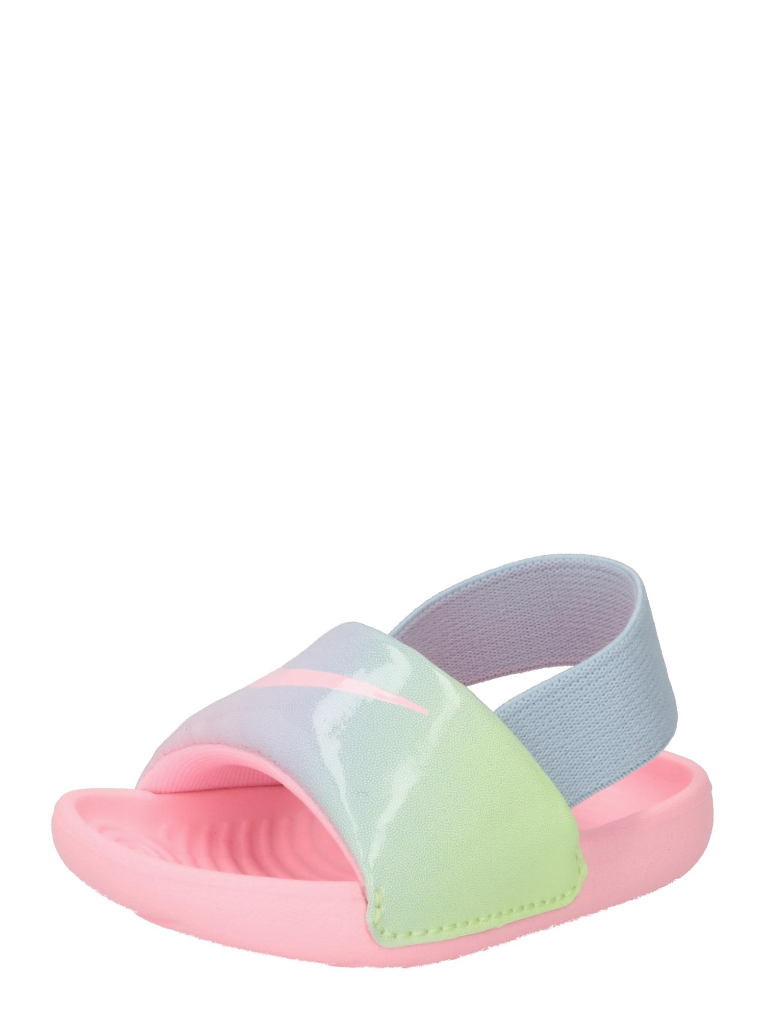 NIKE Sandalai / maudymosi batai 'Kawa SE' rožių spalva / šviesiai mėlyna / neoninė žalia