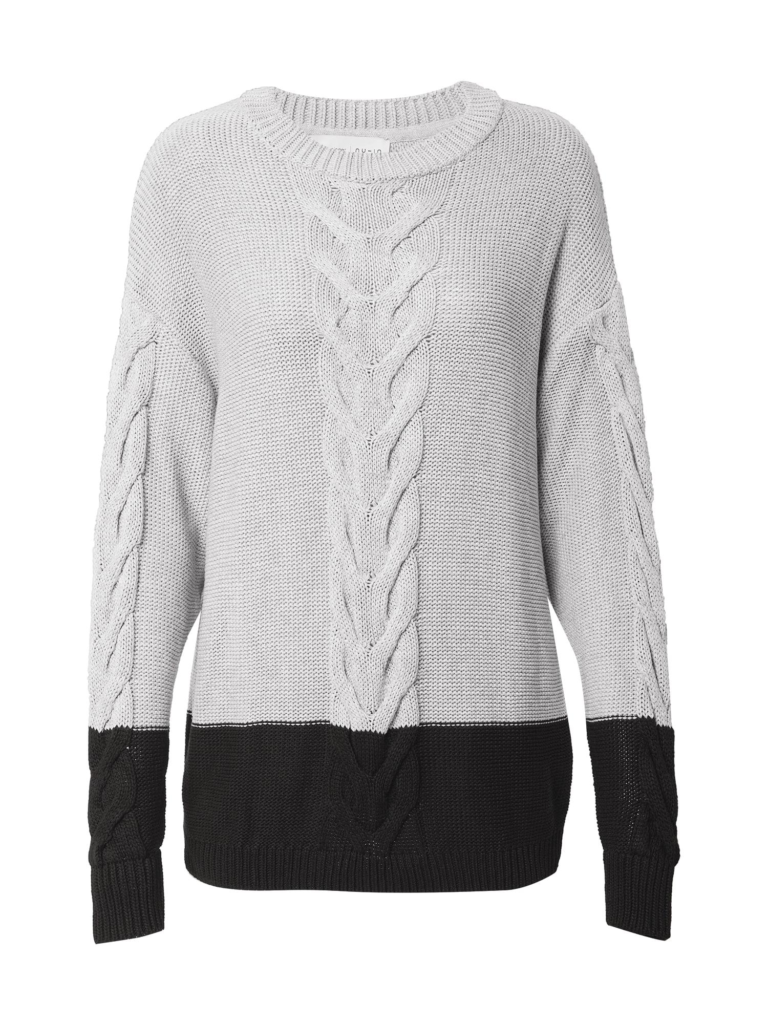 NU-IN Laisvas megztinis pilka / juoda