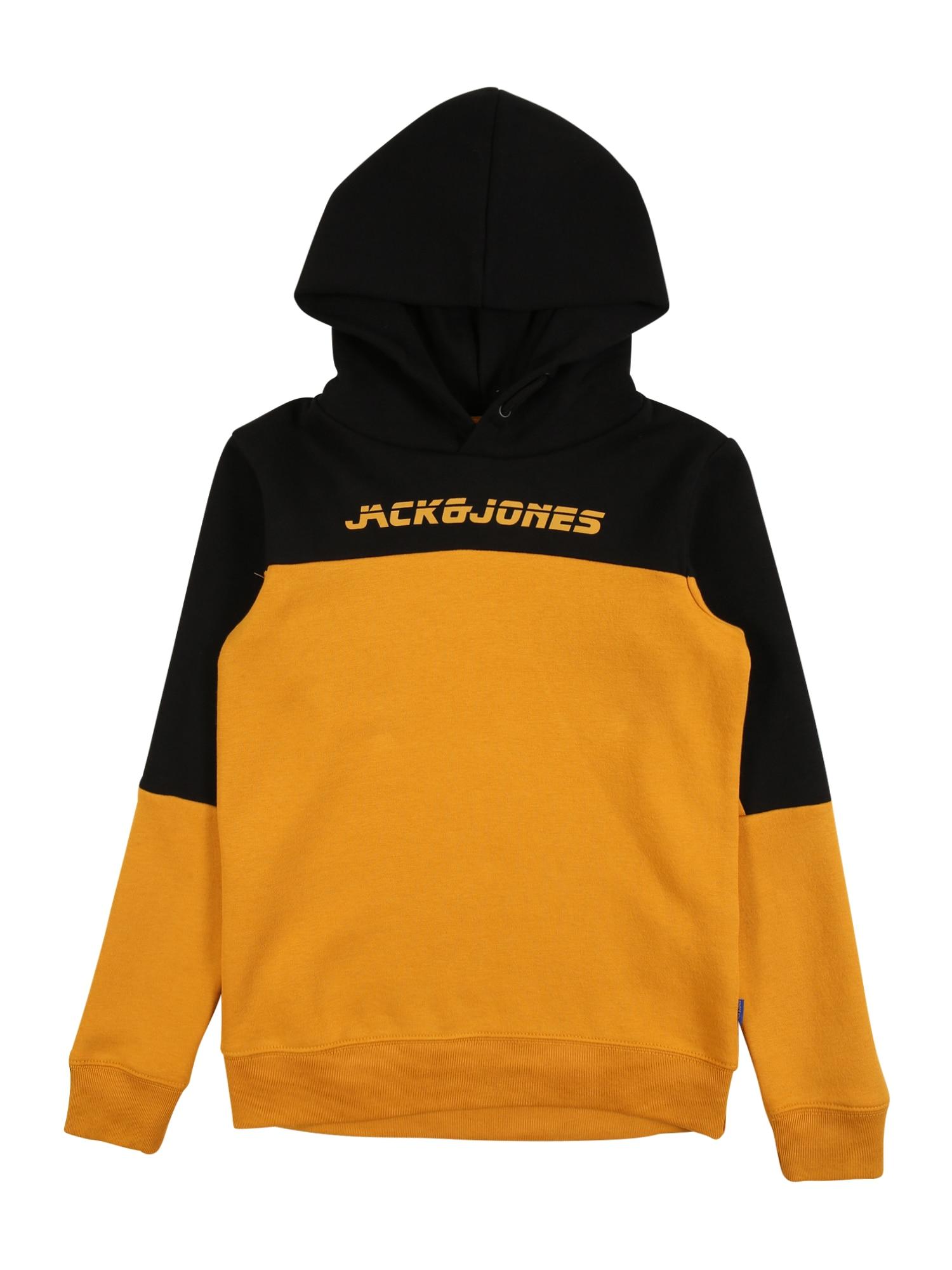 Jack & Jones Junior Mikina 'ASHER'  černá / zlatě žlutá